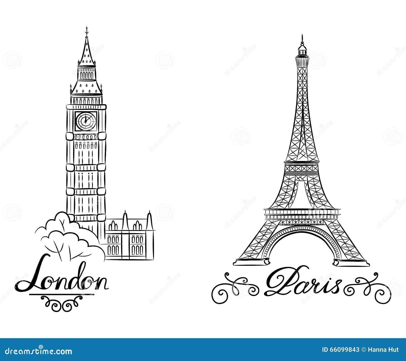 手剪影举世闻名的地标收藏:大本钟伦敦,巴黎,艾菲尔铁塔英国和剪影