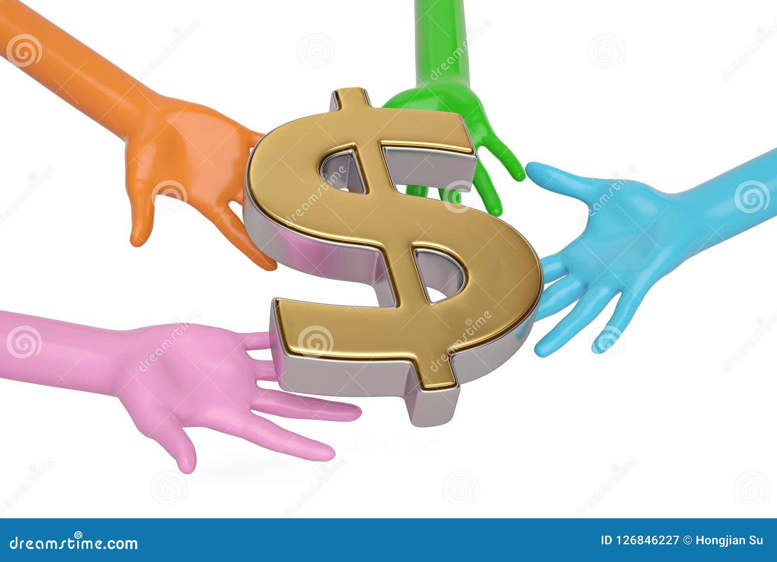手和美元在白色背景的标志 3d例证