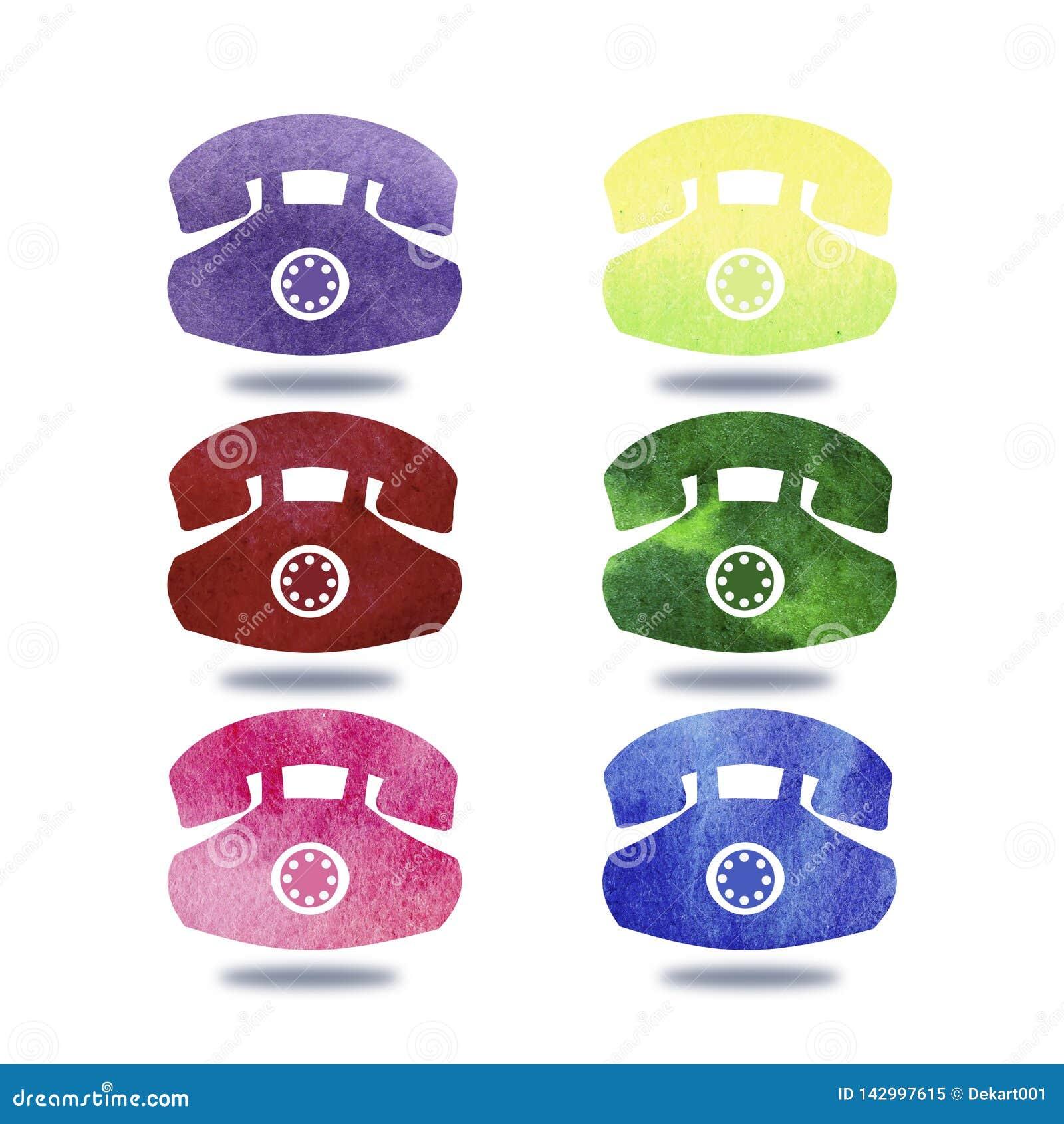 手图画五颜六色的电话的刷子例证有水彩的 图形设计有白色背景 ??