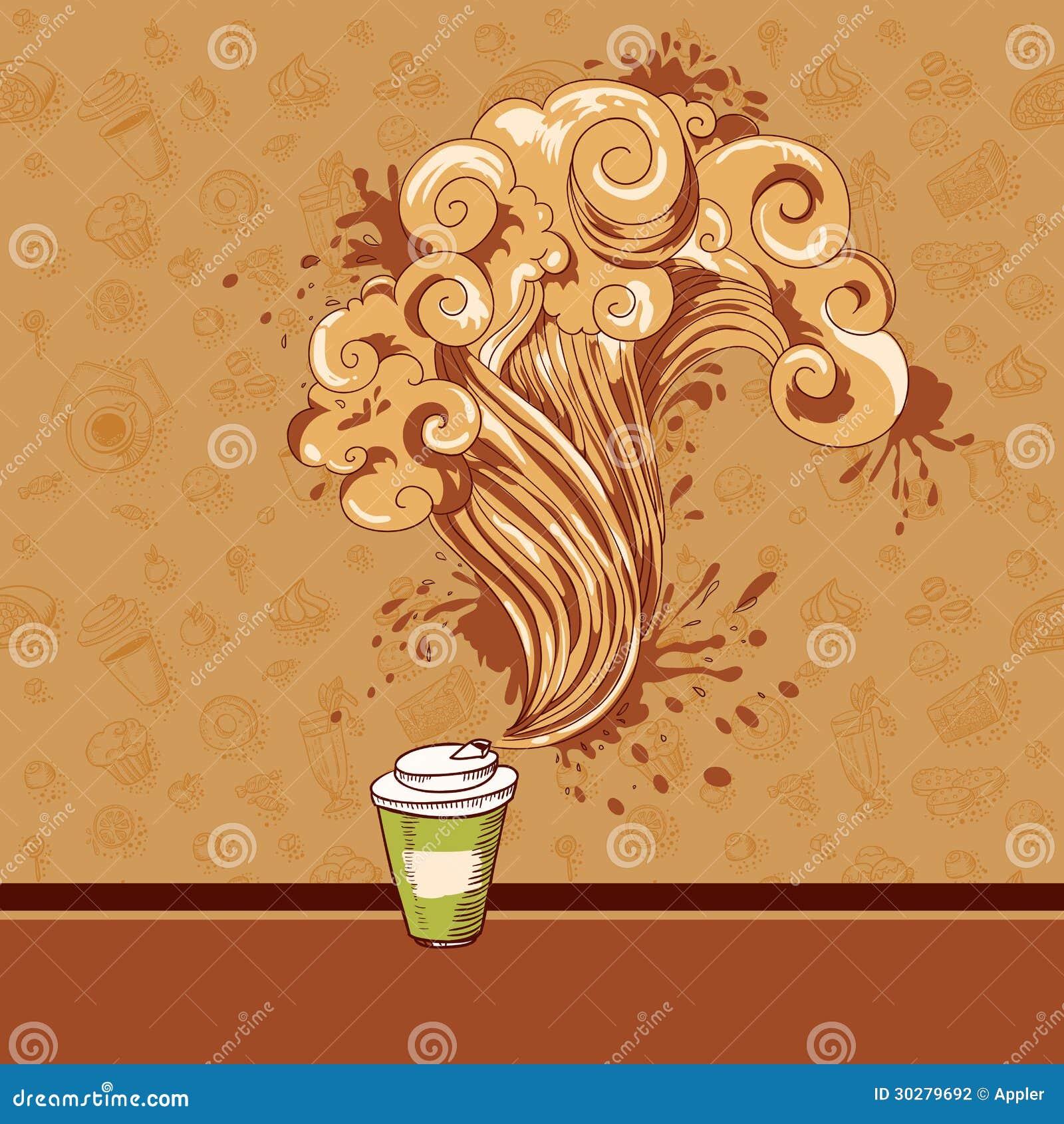无缝的酥皮点心和咖啡波浪概念