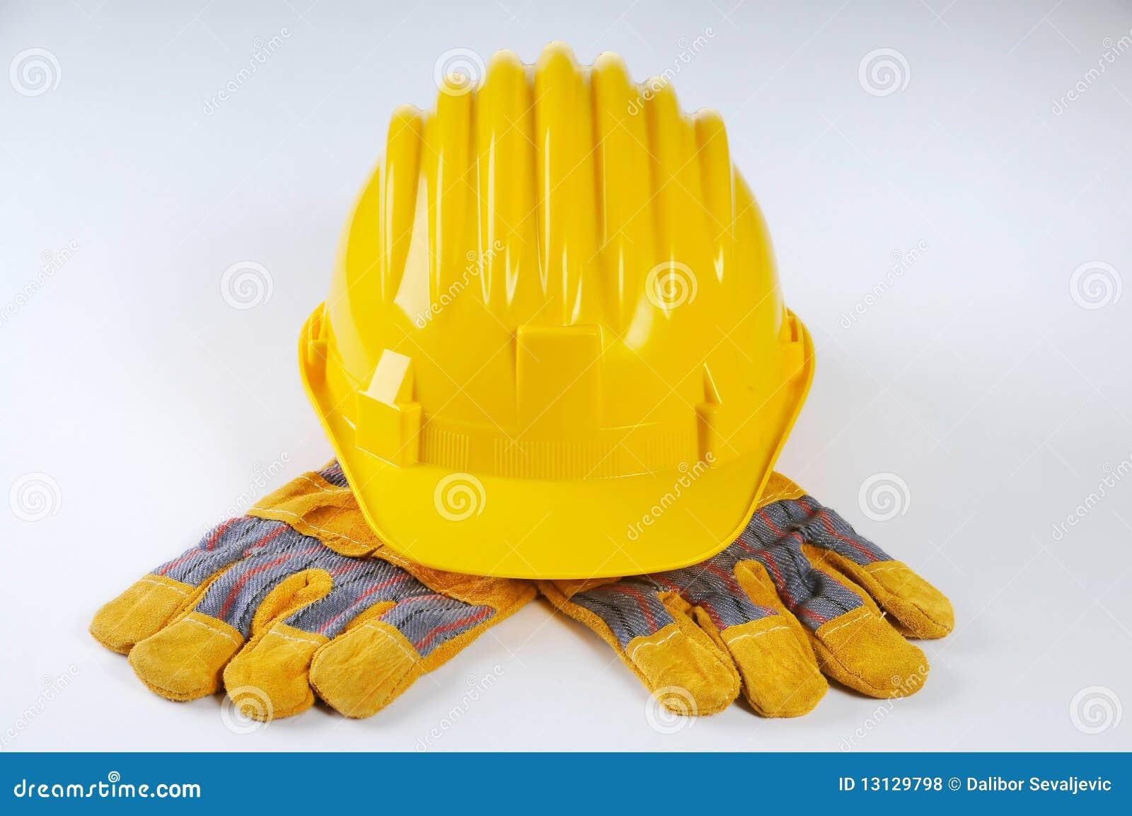 手套安全帽工作黄色