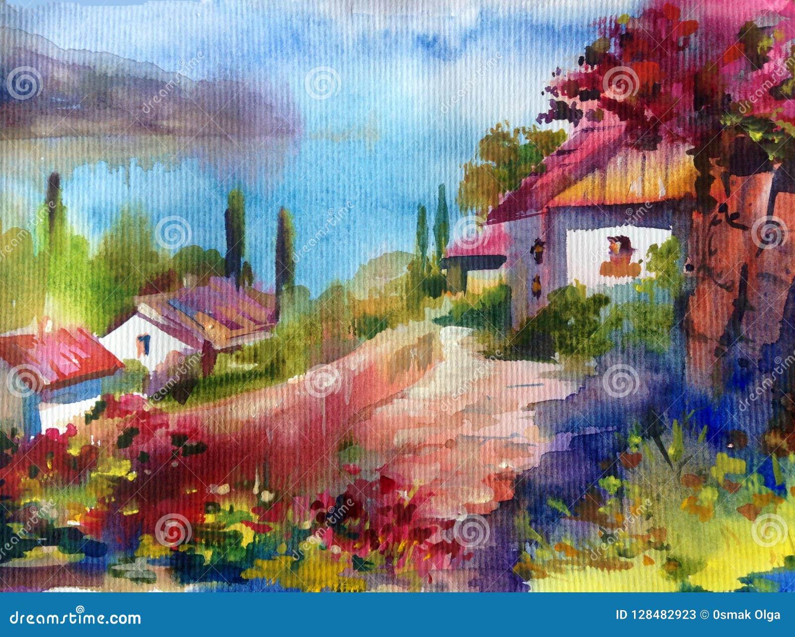 手工制造水彩五颜六色的明亮的织地不很细抽象的背景 地中海横向 沿海村庄绘画