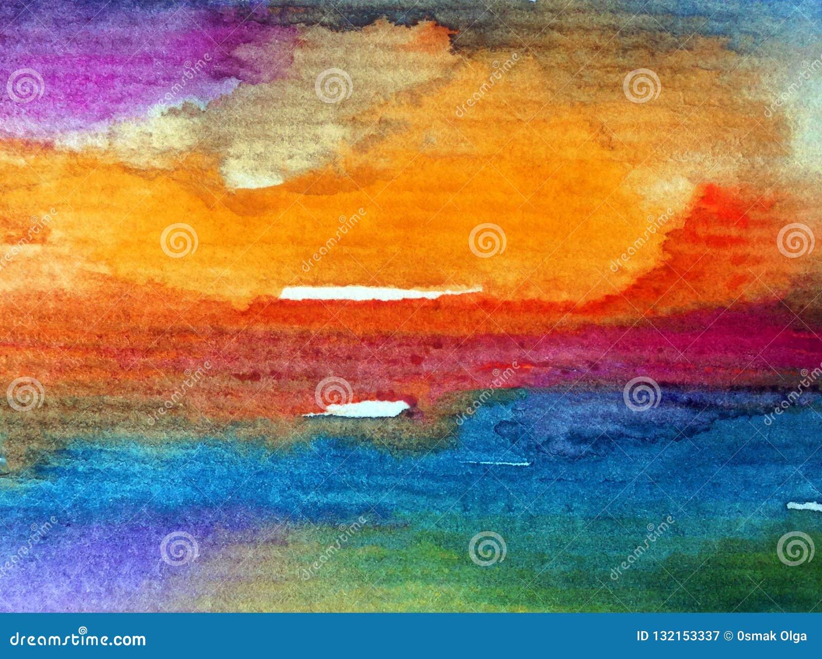 手工制造水彩抽象明亮的五颜六色的质地的背景 天空和云彩绘画在日落期间 现代宇宙啪答声