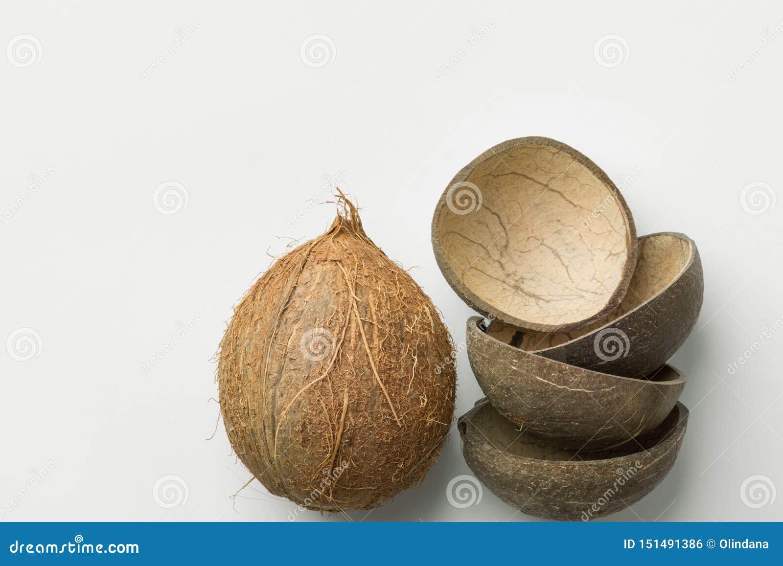 手工制造食物碗的整个椰子和一半壳模子 塑料自由零的废物能承受的eco友好的可再用的材料