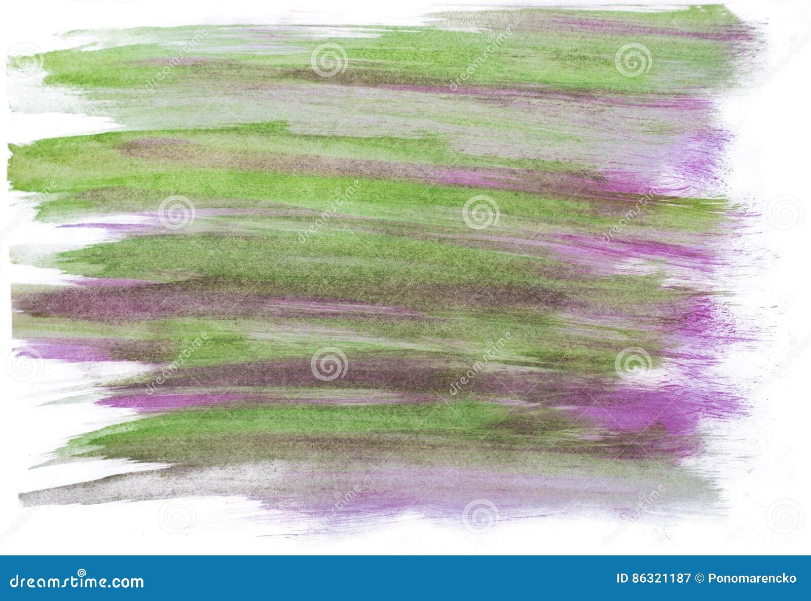 手工制造绿色和紫色水彩摘要