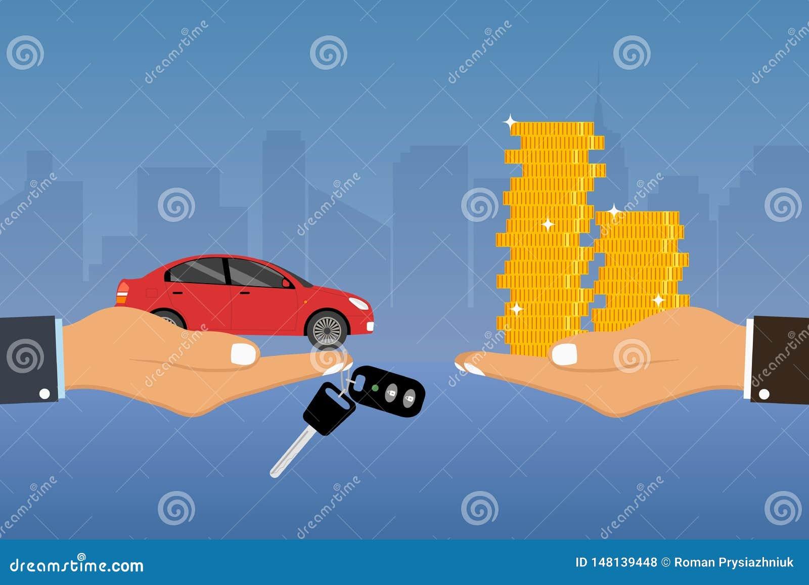 手把握汽车和关键在手指和给,接受金黄硬币从其他手 汽车代理、销售和租的概念