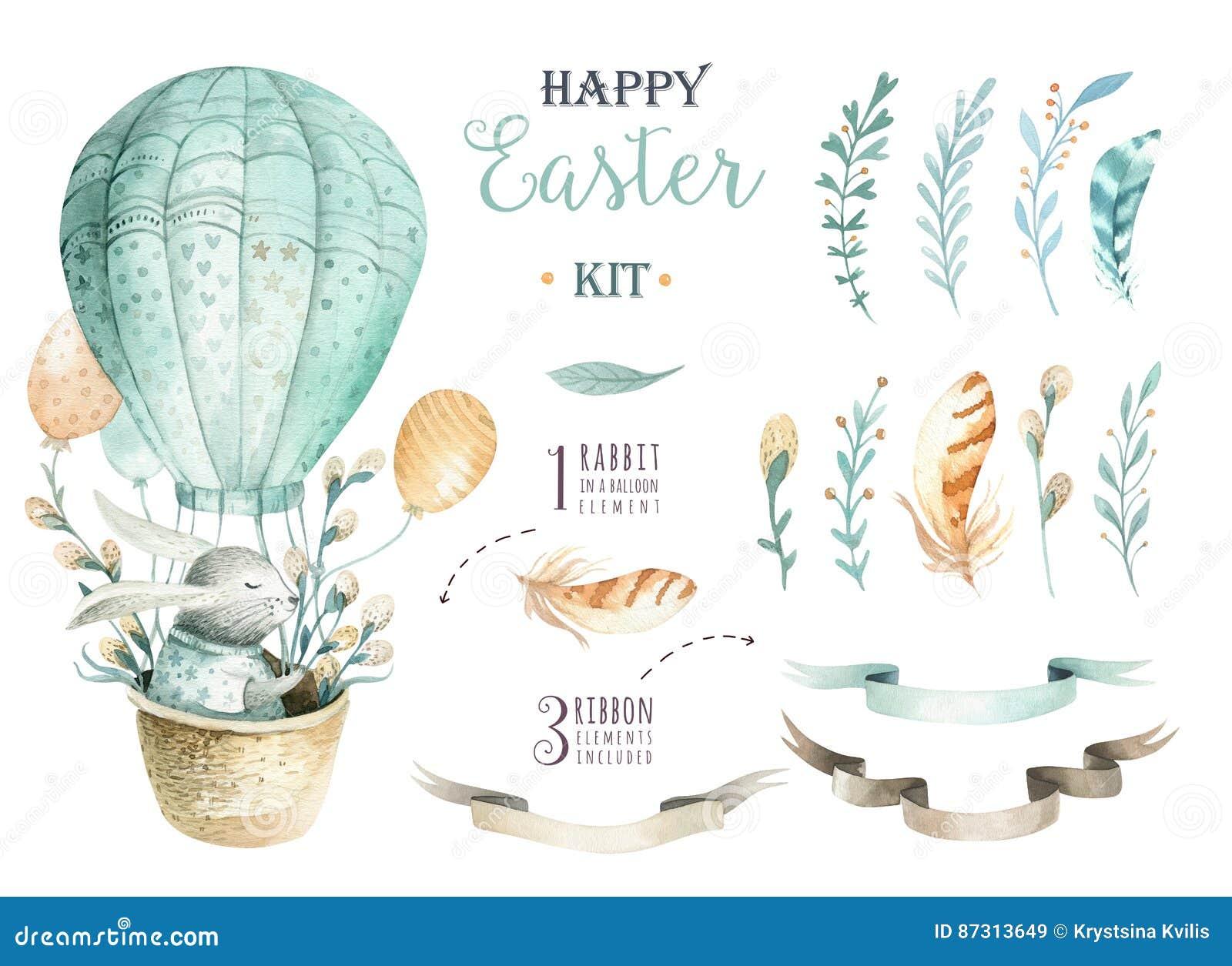 手拉的与兔宝宝的水彩愉快的复活节集合设计 Rabb