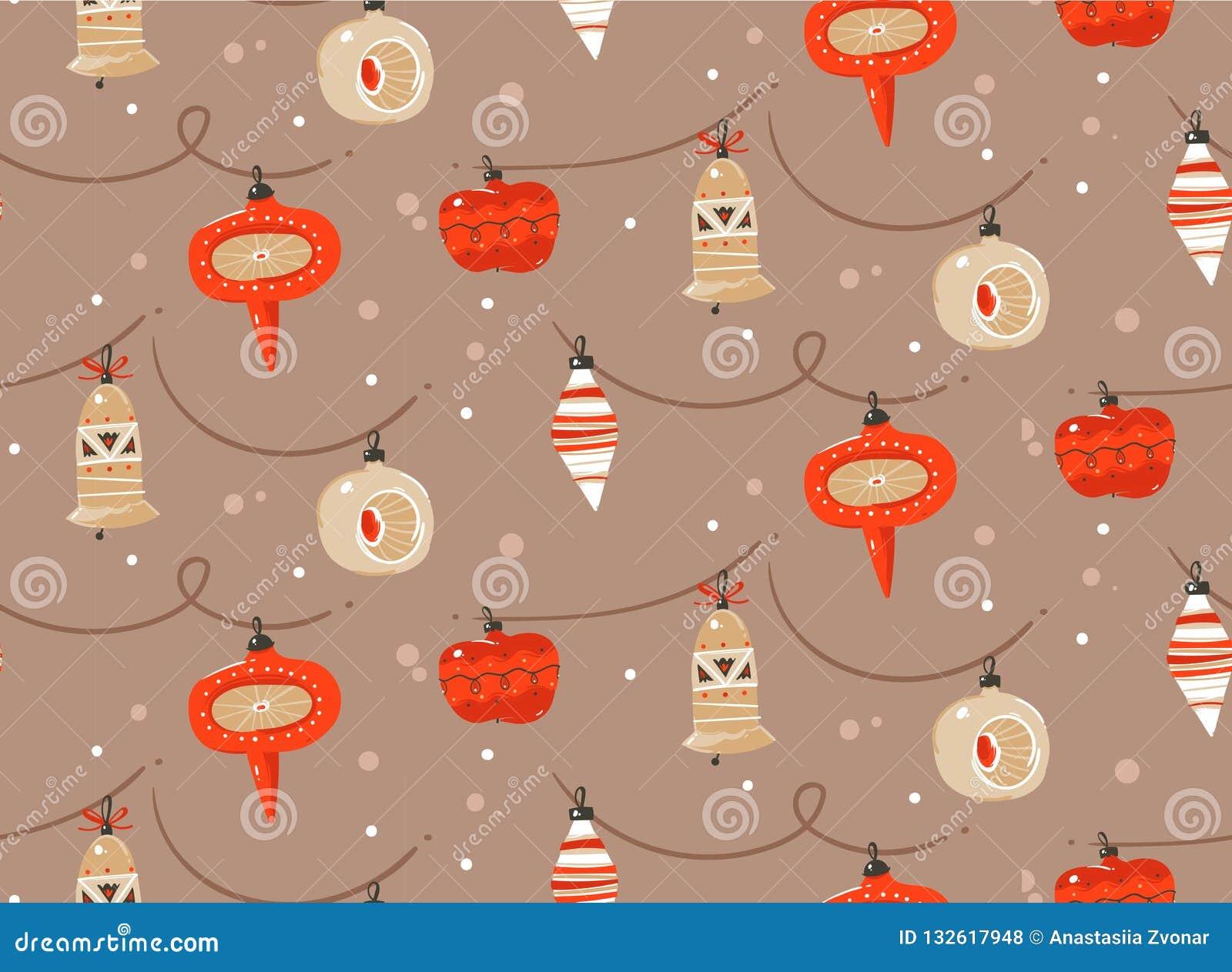 手拉的与逗人喜爱的传染媒介摘要乐趣圣诞快乐和新年快乐时间动画片土气欢乐无缝的样式