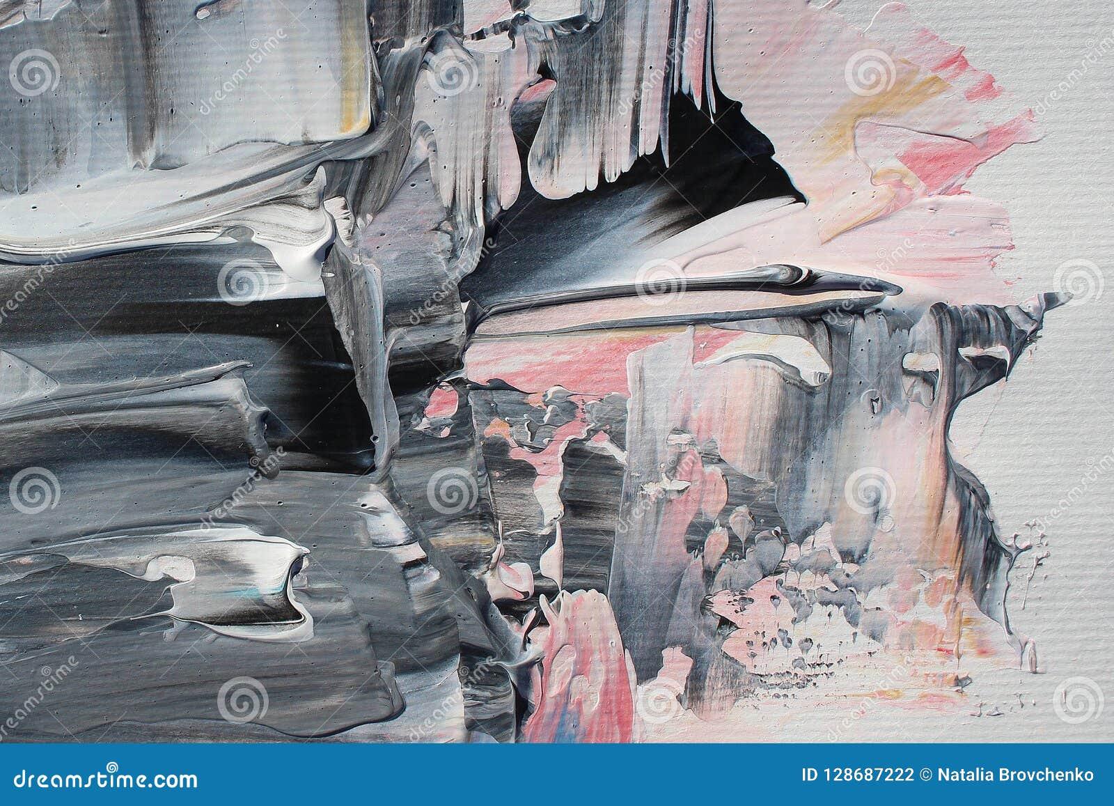 手拉的丙烯酸酯的绘画 抽象派背景 在帆布的丙烯酸酯的绘画 颜色纹理 绘画的技巧