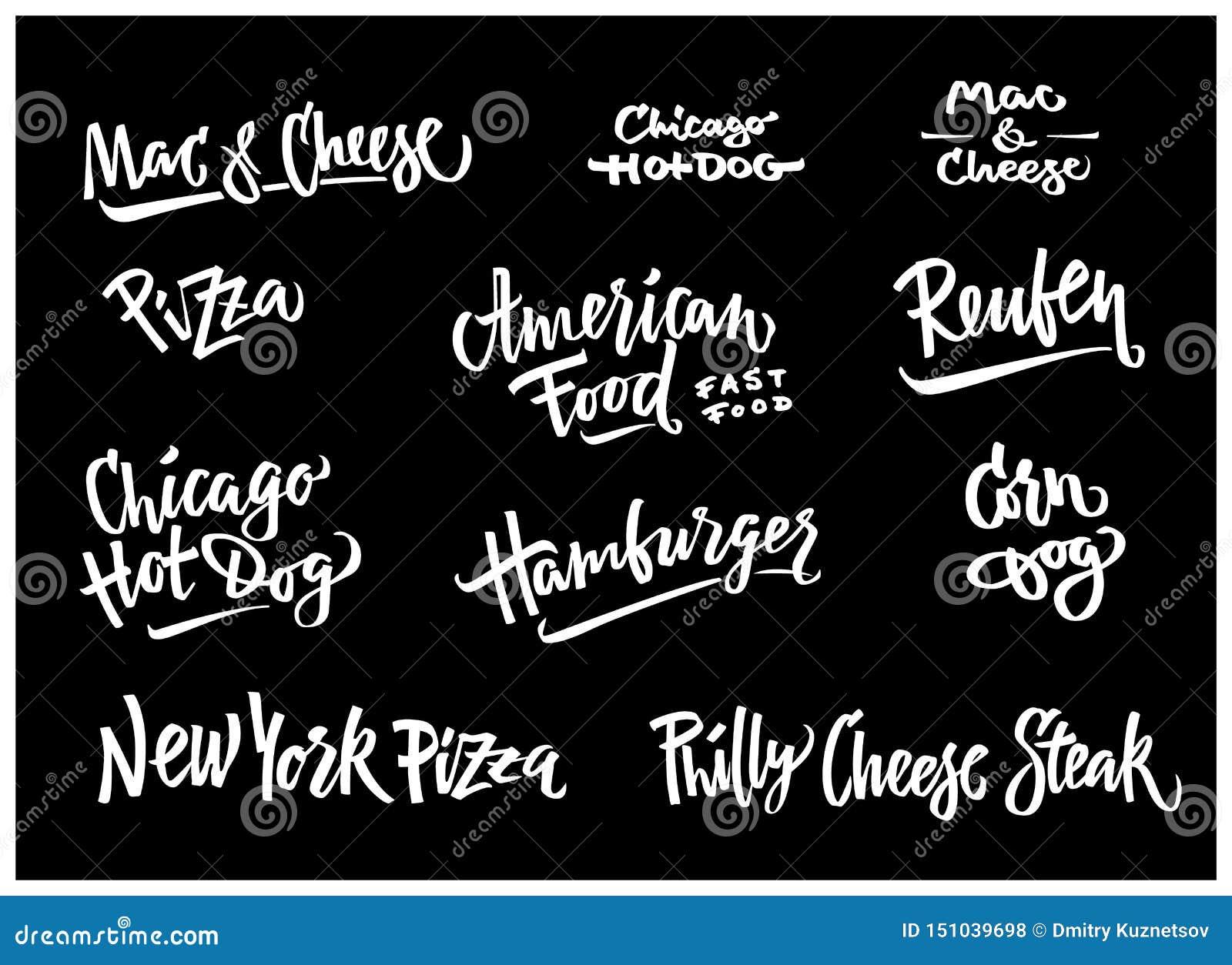 手拉的传染媒介例证普遍的美国食物品种玉米面热狗,芝加哥热狗,汉堡包,费城乳酪