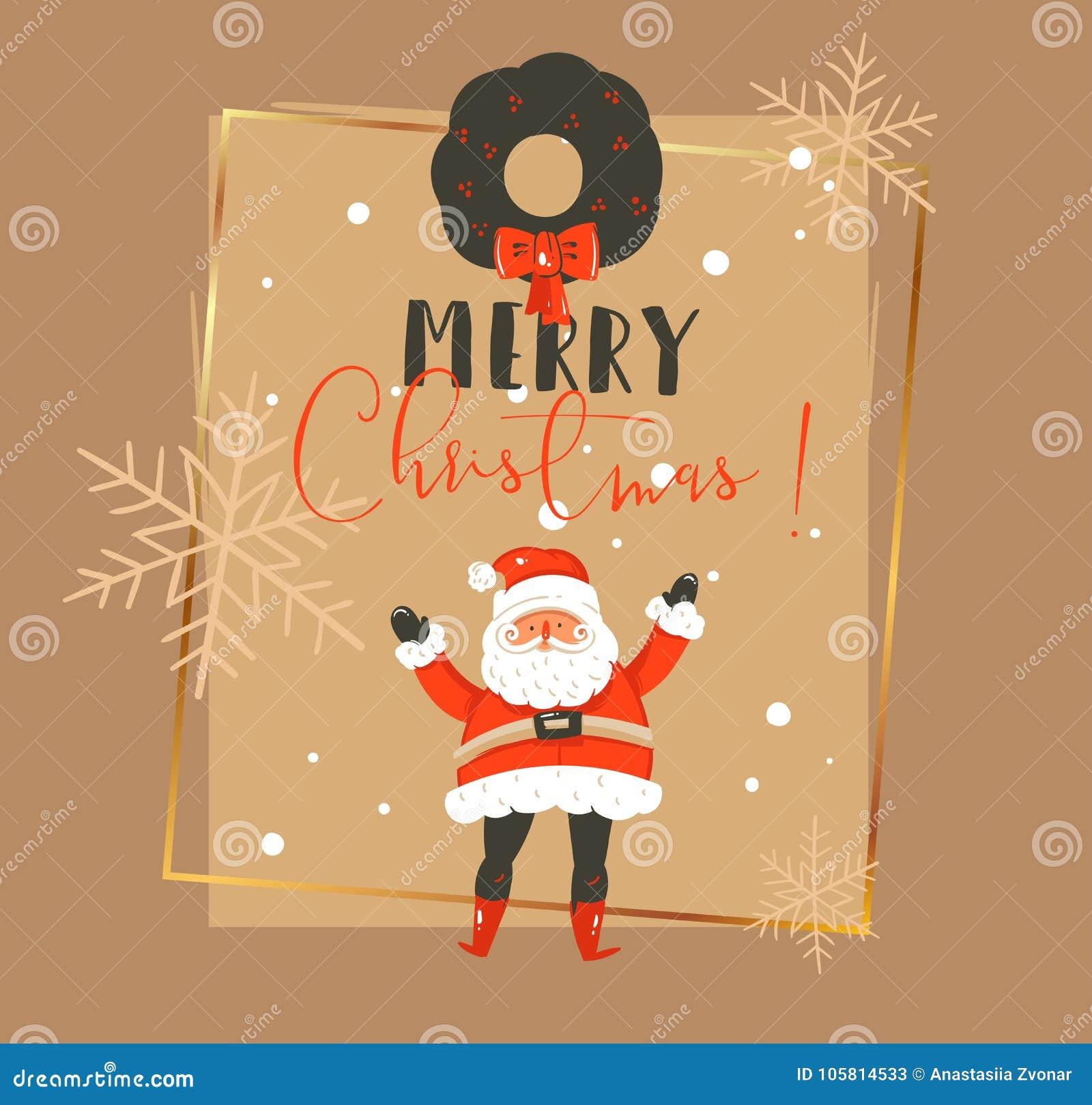 手拉的传染媒介摘要圣诞快乐和新年快乐计时葡萄酒动画片例证贺卡模板