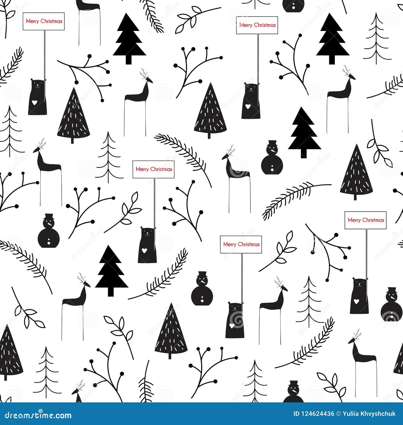 手拉的传染媒介摘要斯堪的纳维亚圣诞节黑色白色无缝的样式