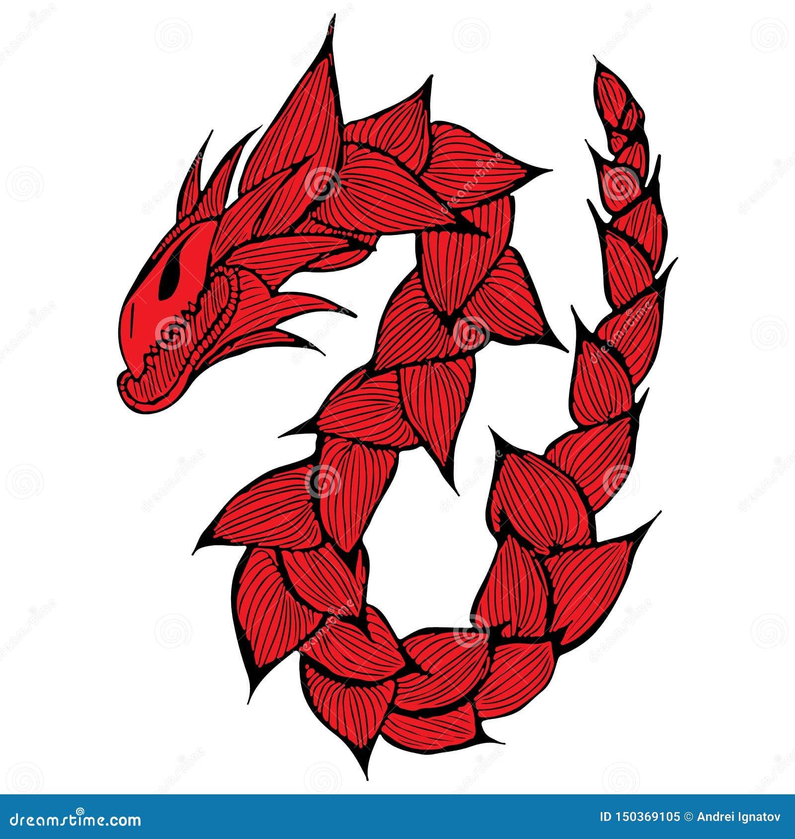 手拉的传染媒介红色龙例证 意想不到的龙象 神话aminal徒手画的剪影  幻想概述