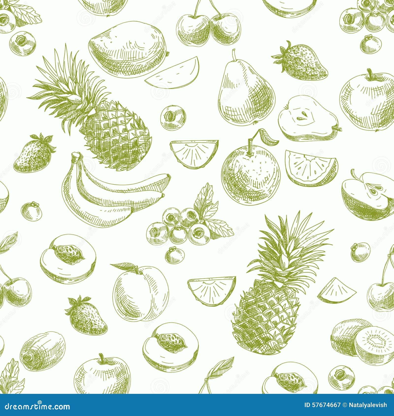 手拉的传染媒介无缝的样式用果子和