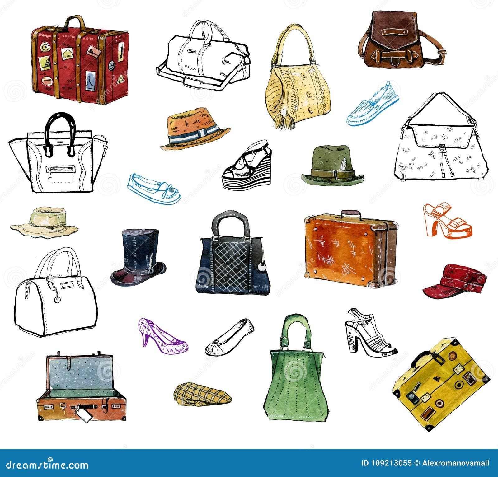 手拉的图表套衣物acessories,帽子,袋子,鞋子