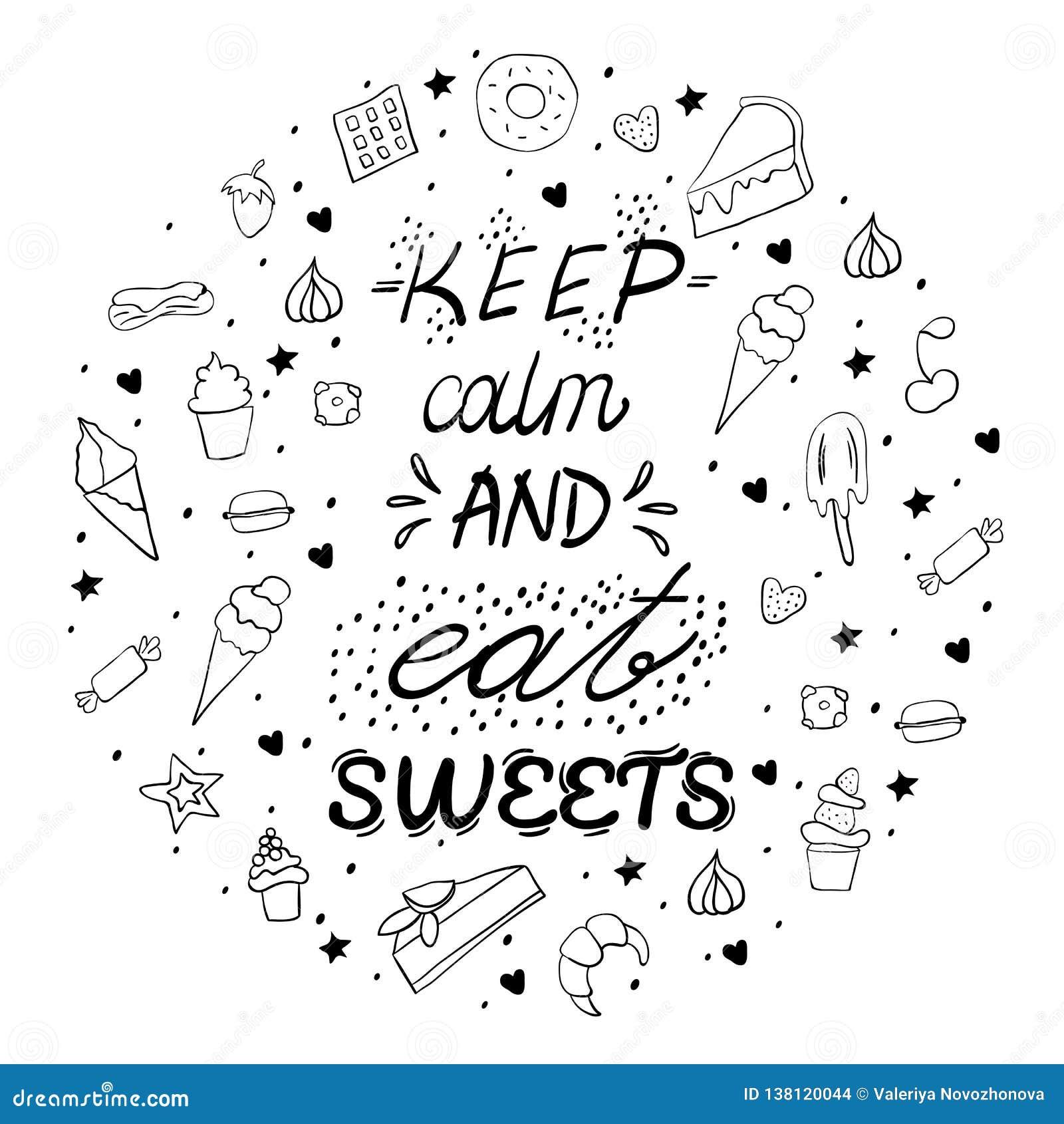 手拉的在上写字的海报用点心和甜点 保留安静并且吃甜点 也corel凹道例证向量 点心的传染媒介概念