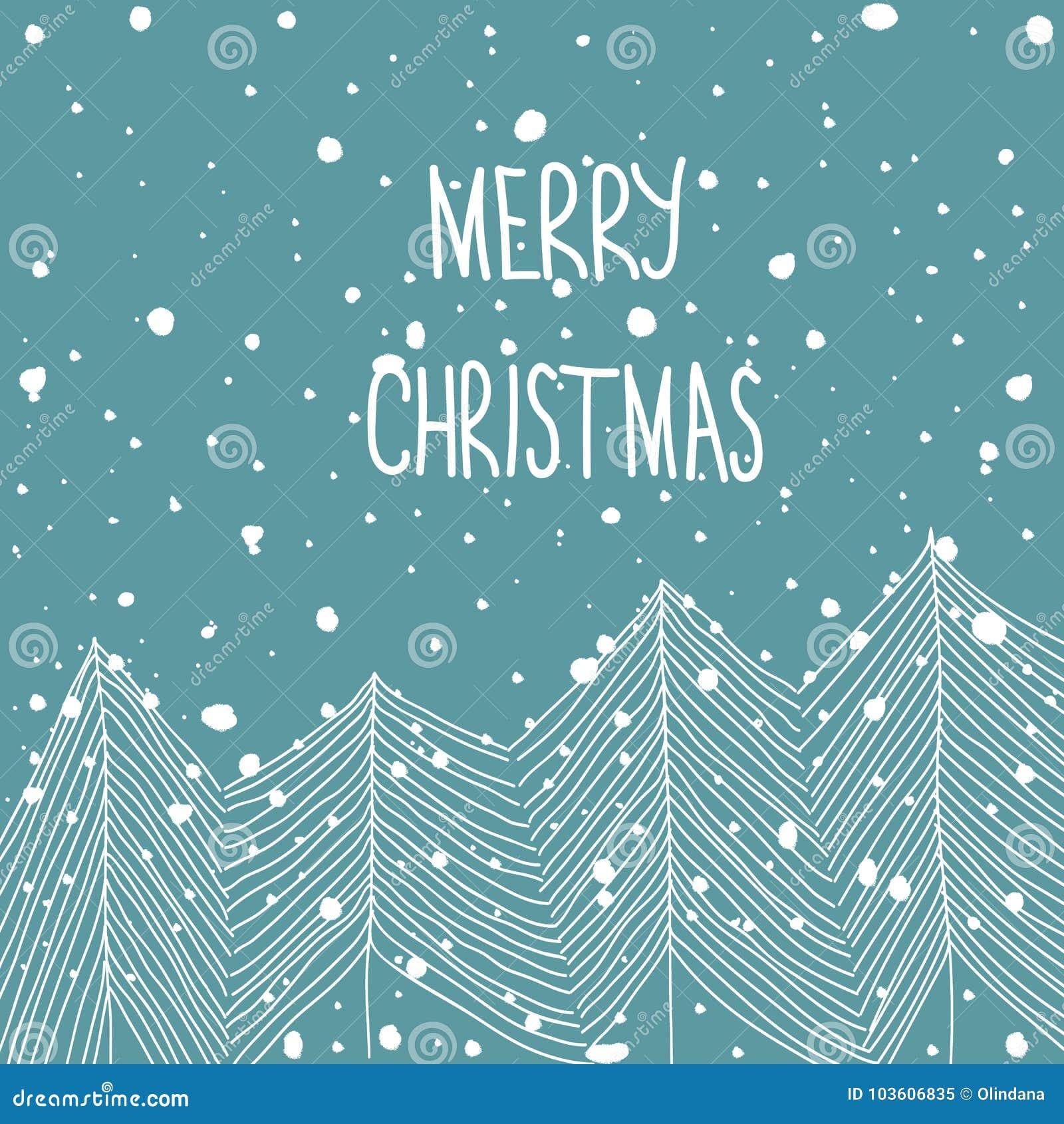 手拉的在森林降雪圣诞快乐手字法的乱画白色冷杉木 浅蓝色背景 摘要 2007个看板卡招呼的新年好