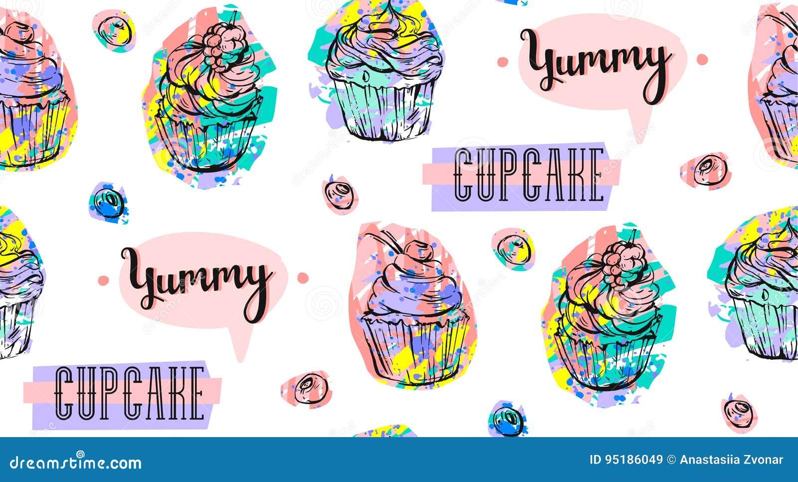 手拉的在白色隔绝的传染媒介摘要无缝的艺术性的抽象创造性的五颜六色的杯形蛋糕和莓果样式