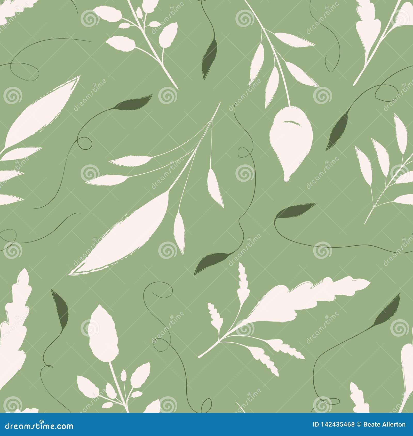 手拉的奶油和绿色叶子有装饰漩涡的 在温暖的绿色背景的无缝的传染媒介样式 E