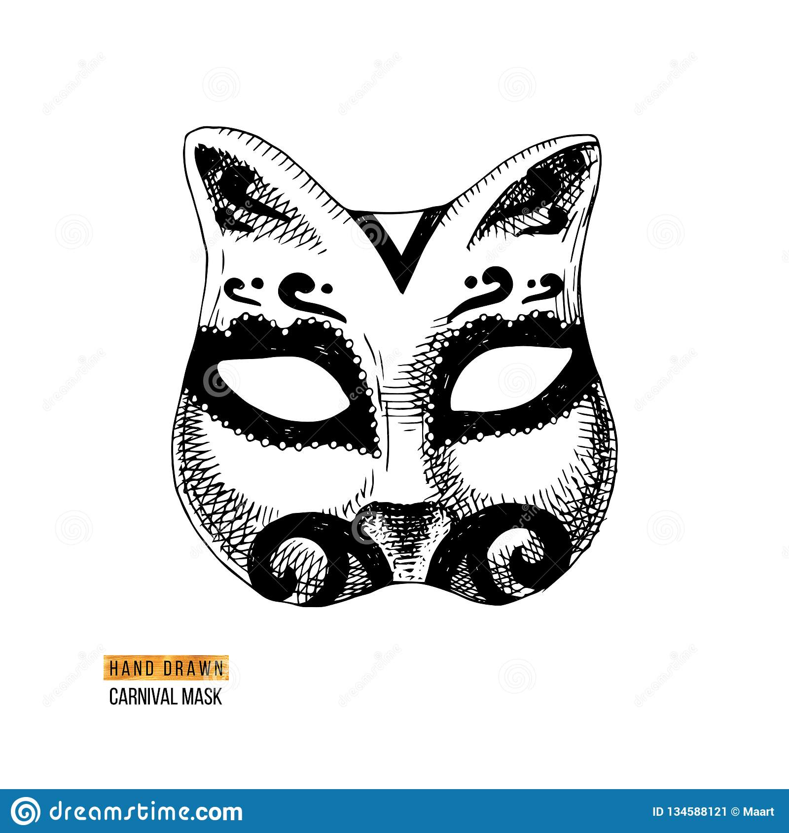 手拉的威尼斯式狂欢节猫面具