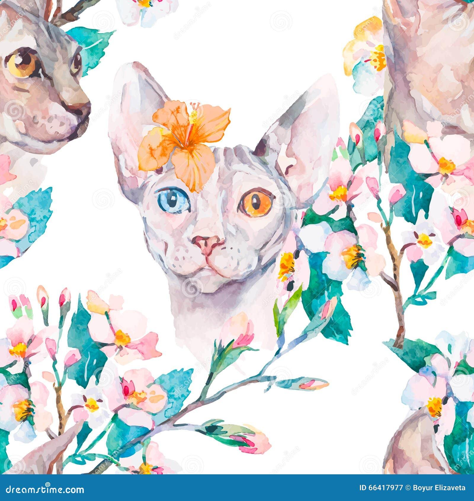 手拉的样式典雅的Sphynx猫和热带花 猫时尚画象  狮身人面象 可用的背景黑色蓝色生长留给模式红色春天数据条向量空白宽 开花