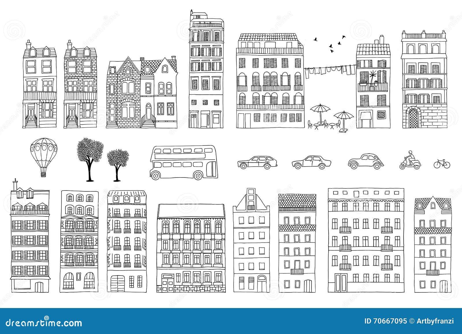手拉的欧洲风格的房子的汇集