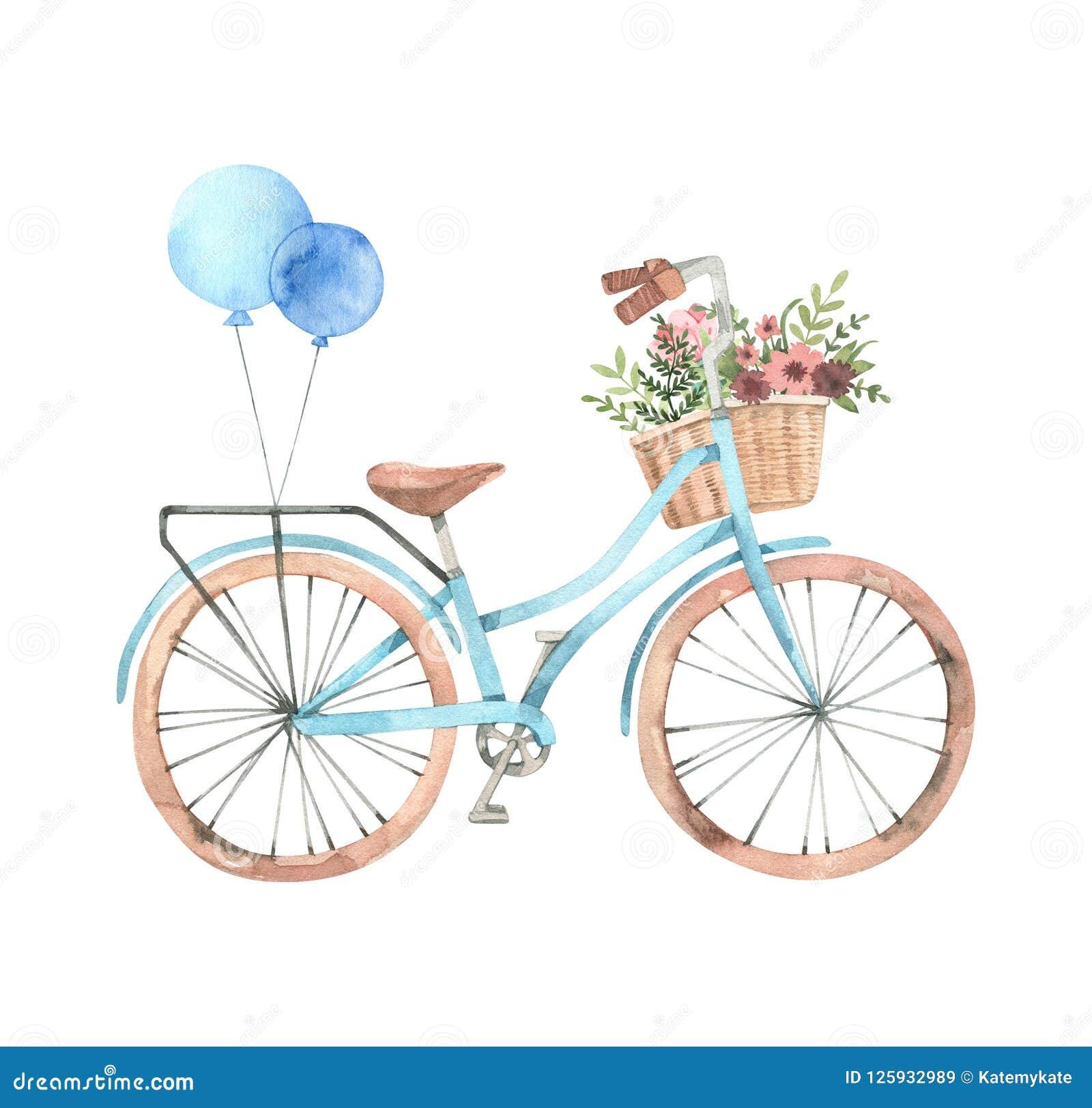 手拉的水彩例证-有花的b浪漫自行车