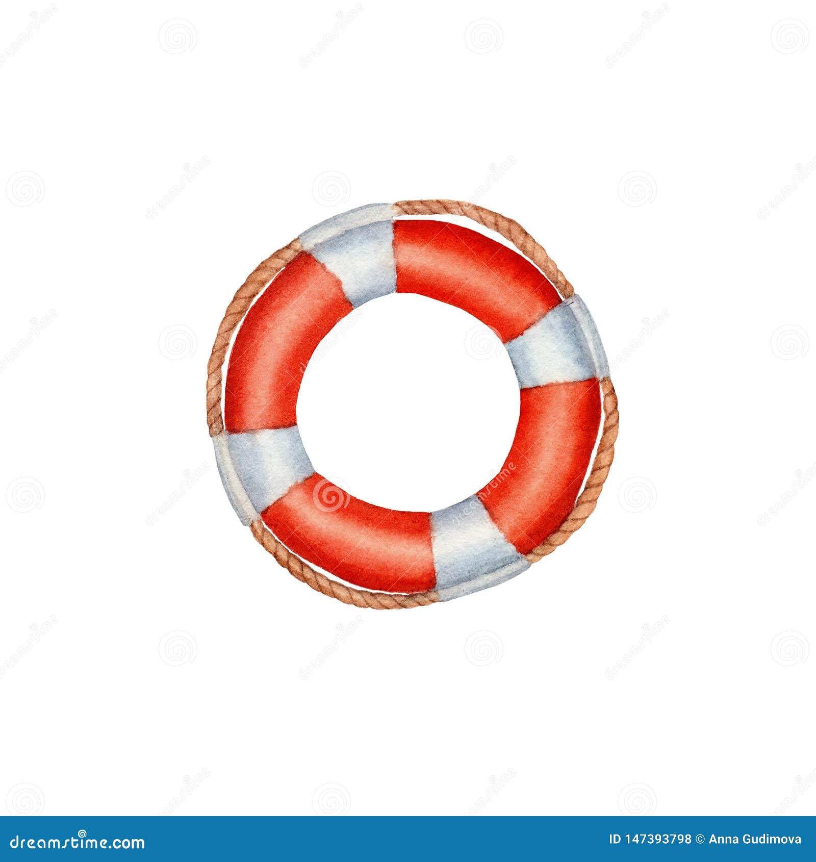 手拉的水彩Lifebuoy隔绝了