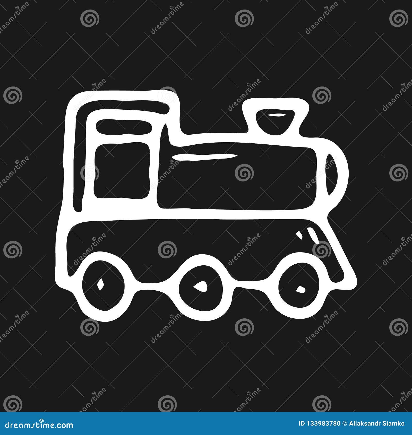 手拉的玩具火车乱画 剪影儿童的玩具象 Decorat