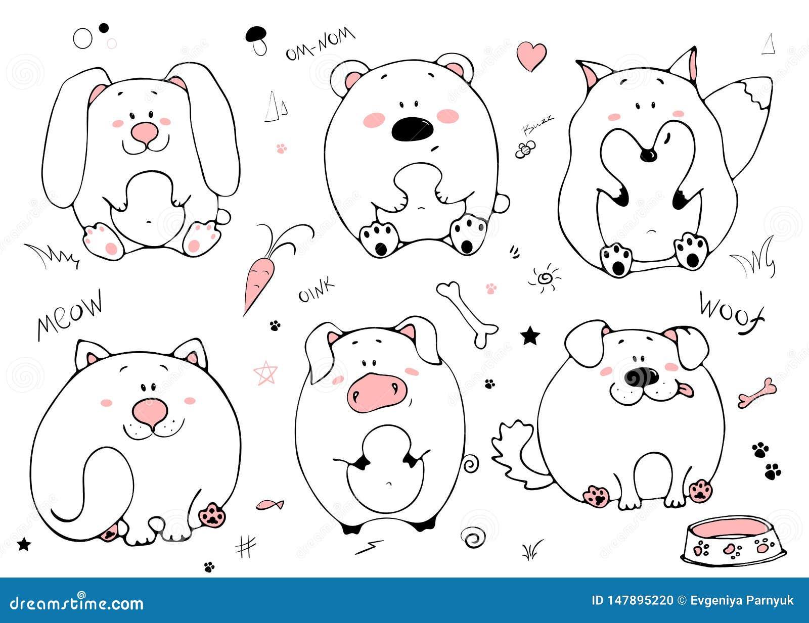 手拉的画象逗人喜爱的滑稽的肥胖动物 设置在白色背景的被隔绝的对象 传染媒介例证用兔子,