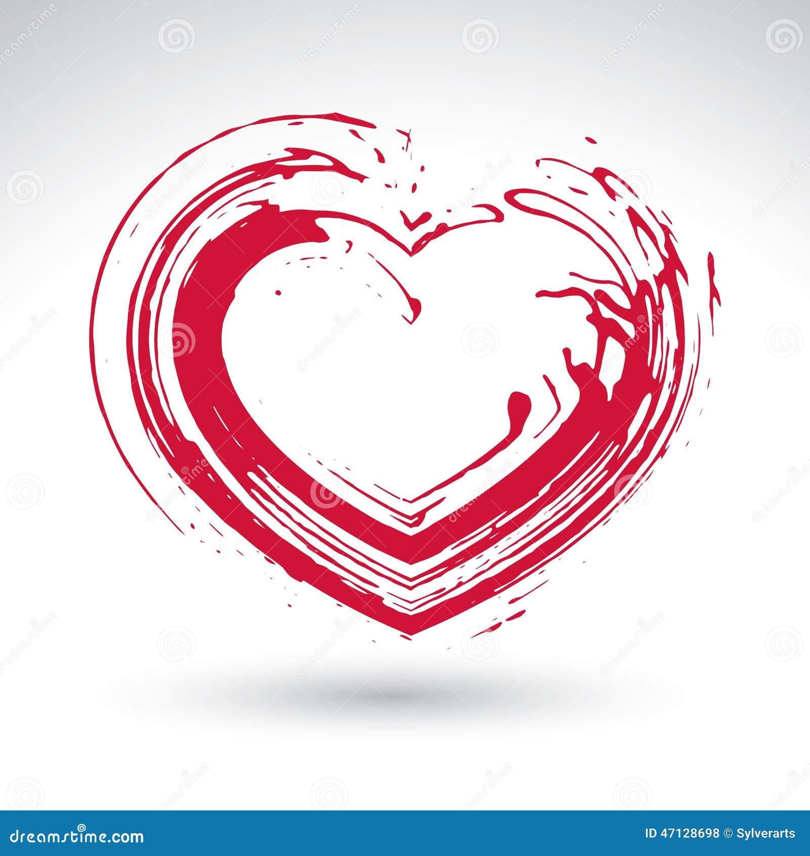 手拉的红色爱心脏象,毛笔画爱恋的心脏标志,原始的手画爱标志隔绝在图片