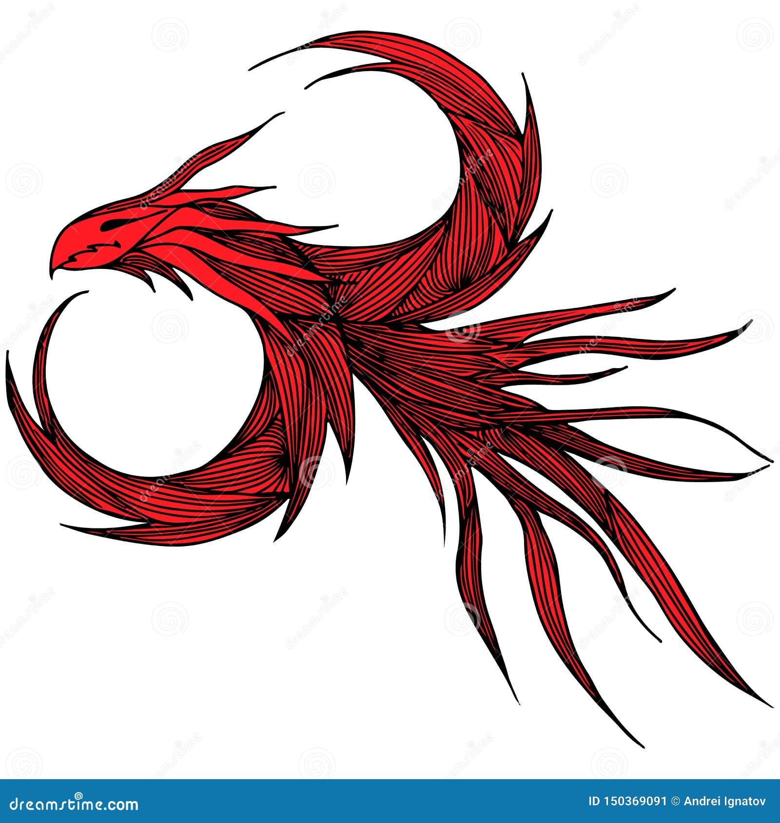 手拉的红色龙例证 意想不到的龙象 神话aminal徒手画的剪影  幻想概述