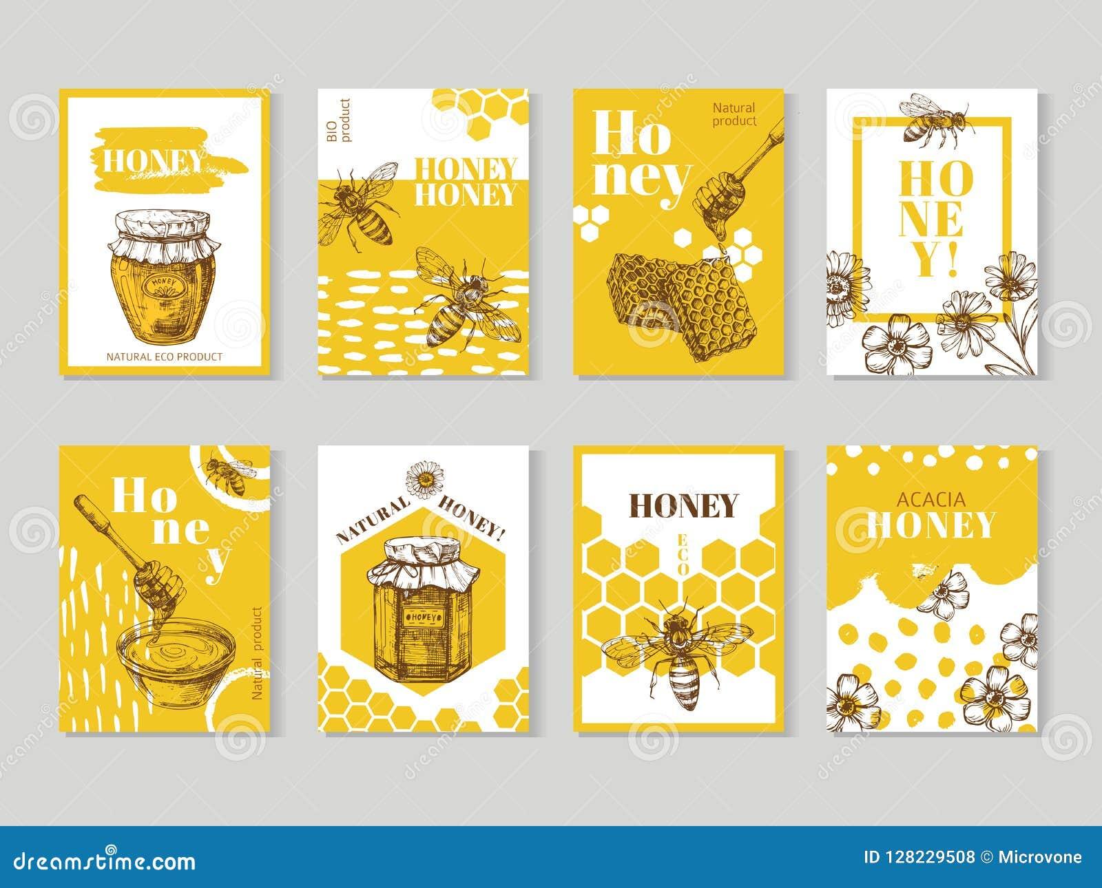 手拉的蜂蜜海报 包装与蜂、蜂窝和蜂房传染媒介的自然蜂蜜设计