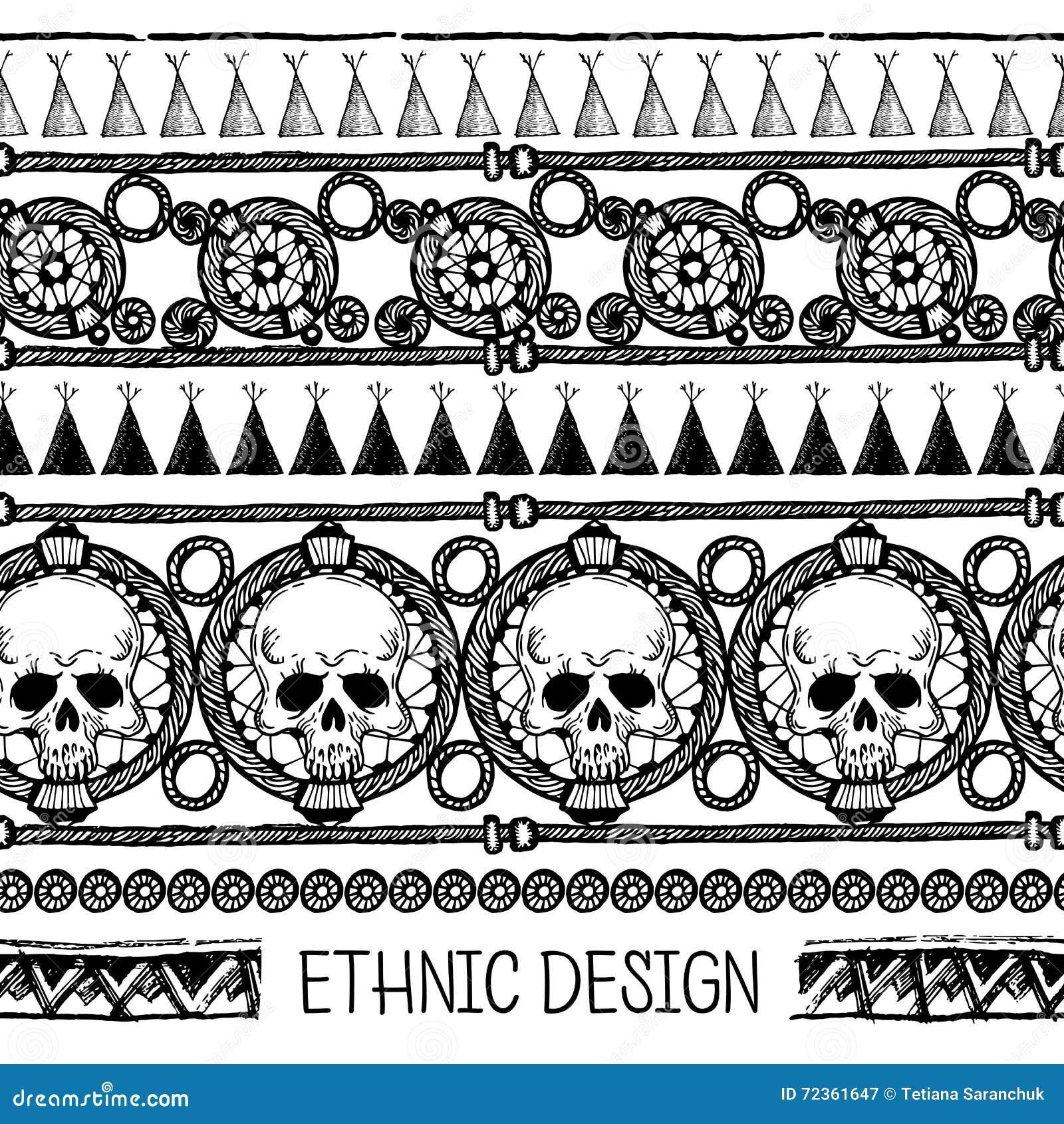 手拉的被绘的无缝的样式 黑白颜色 套与头骨的墨水种族条纹 墨水集合