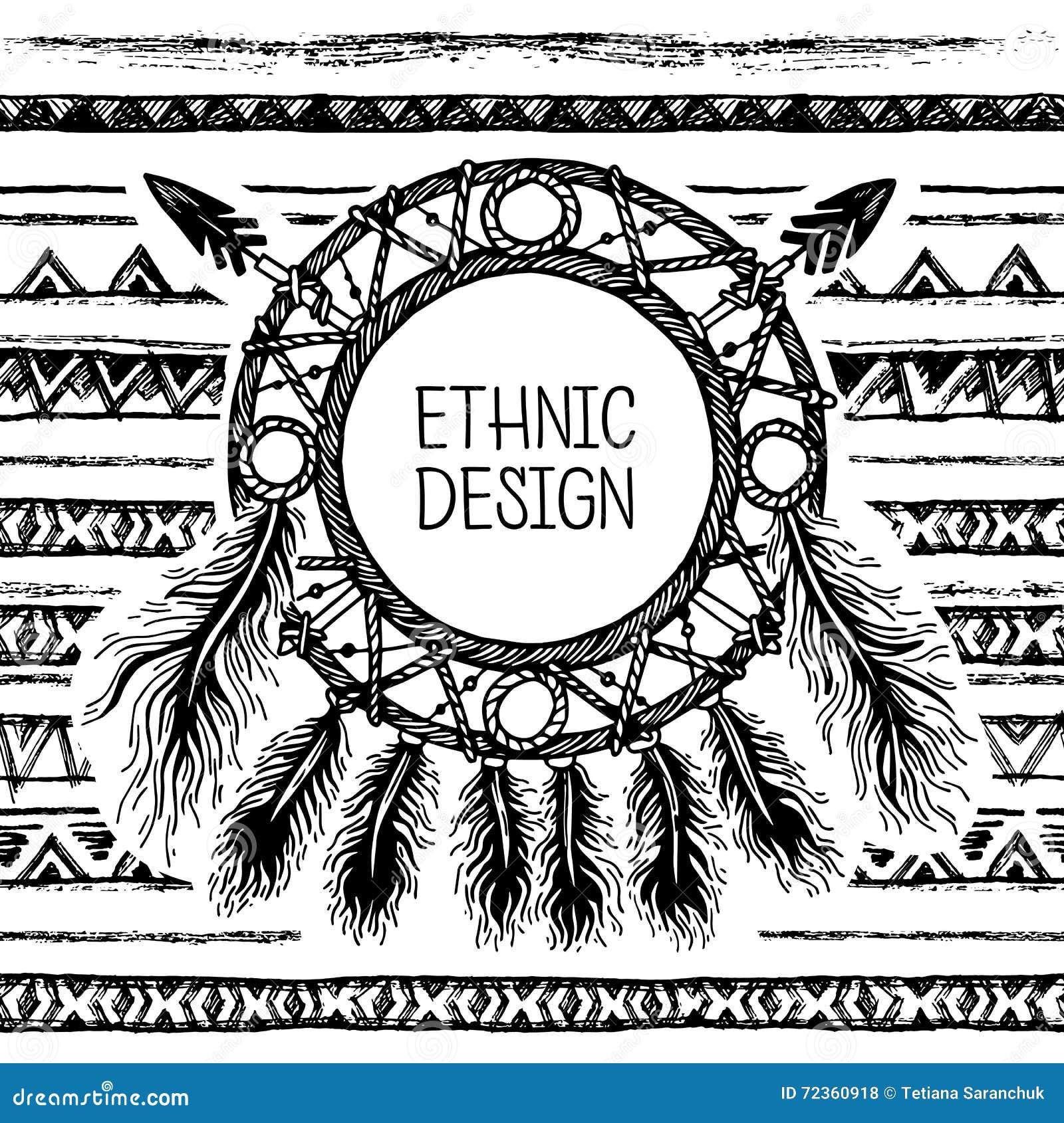 手拉的被绘的无缝的样式 黑白颜色 套墨水种族条纹和梦想俘获器