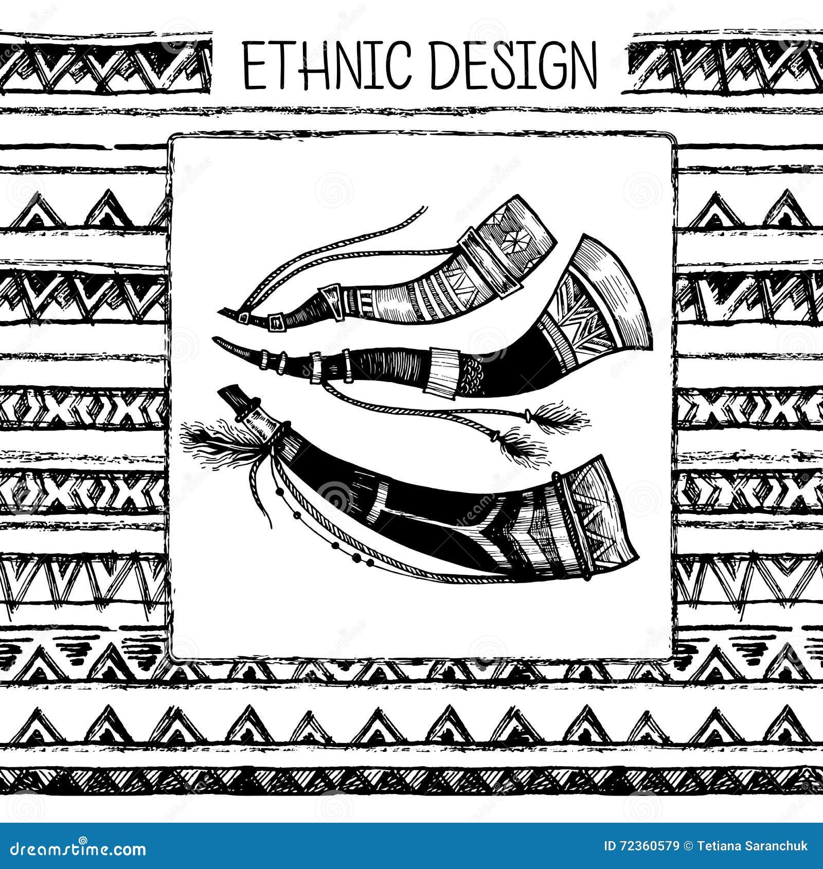 手拉的被绘的无缝的样式 部族种族无缝 黑色墨水和白色猎号 也corel凹道例证向量