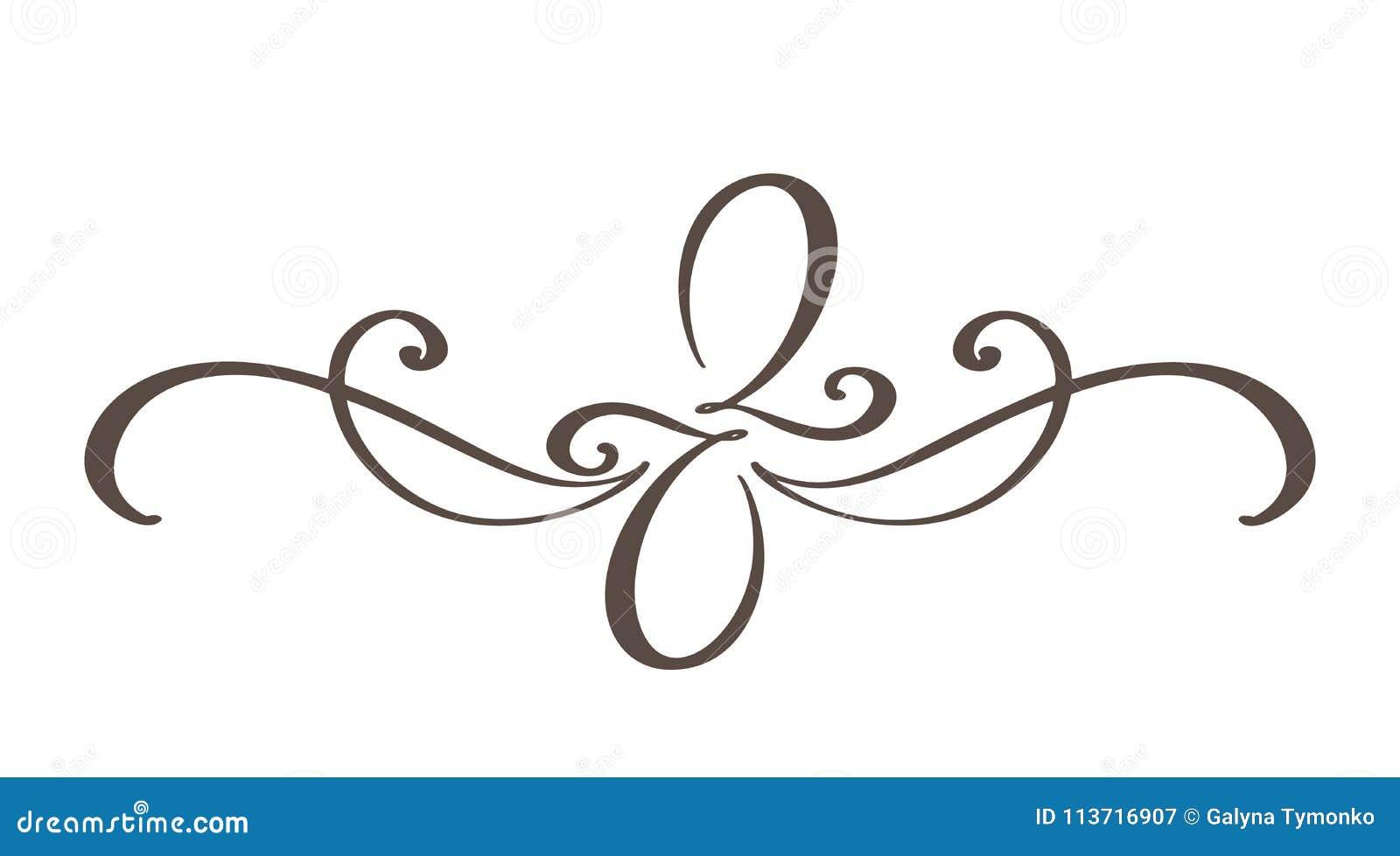 手拉的边界华丽分离器书法设计师元素 传染媒介在白色隔绝的葡萄酒例证
