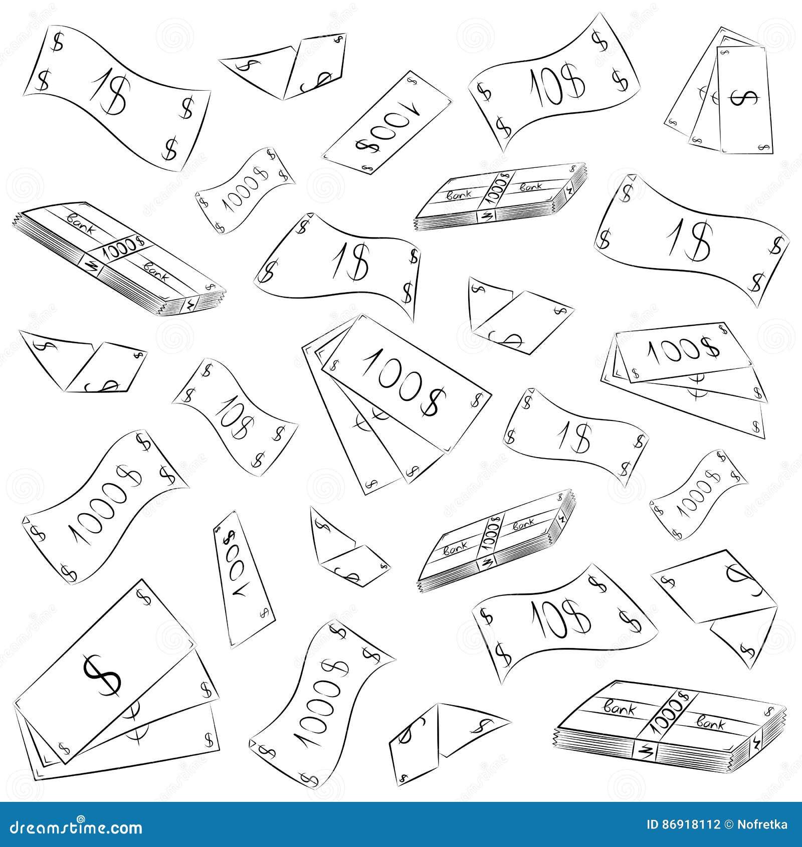 手拉的钞票 乱画金钱雨 杂文现金付给 一刹那膝上型计算机光草图样式