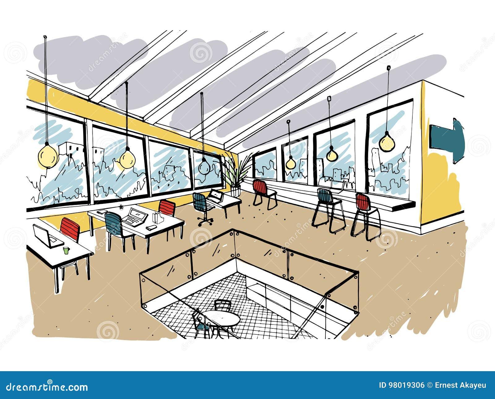 手拉的coworking的群 内部现代的办公室,露天场所 与计算机、膝上型计算机、照明设备和地方的工作区