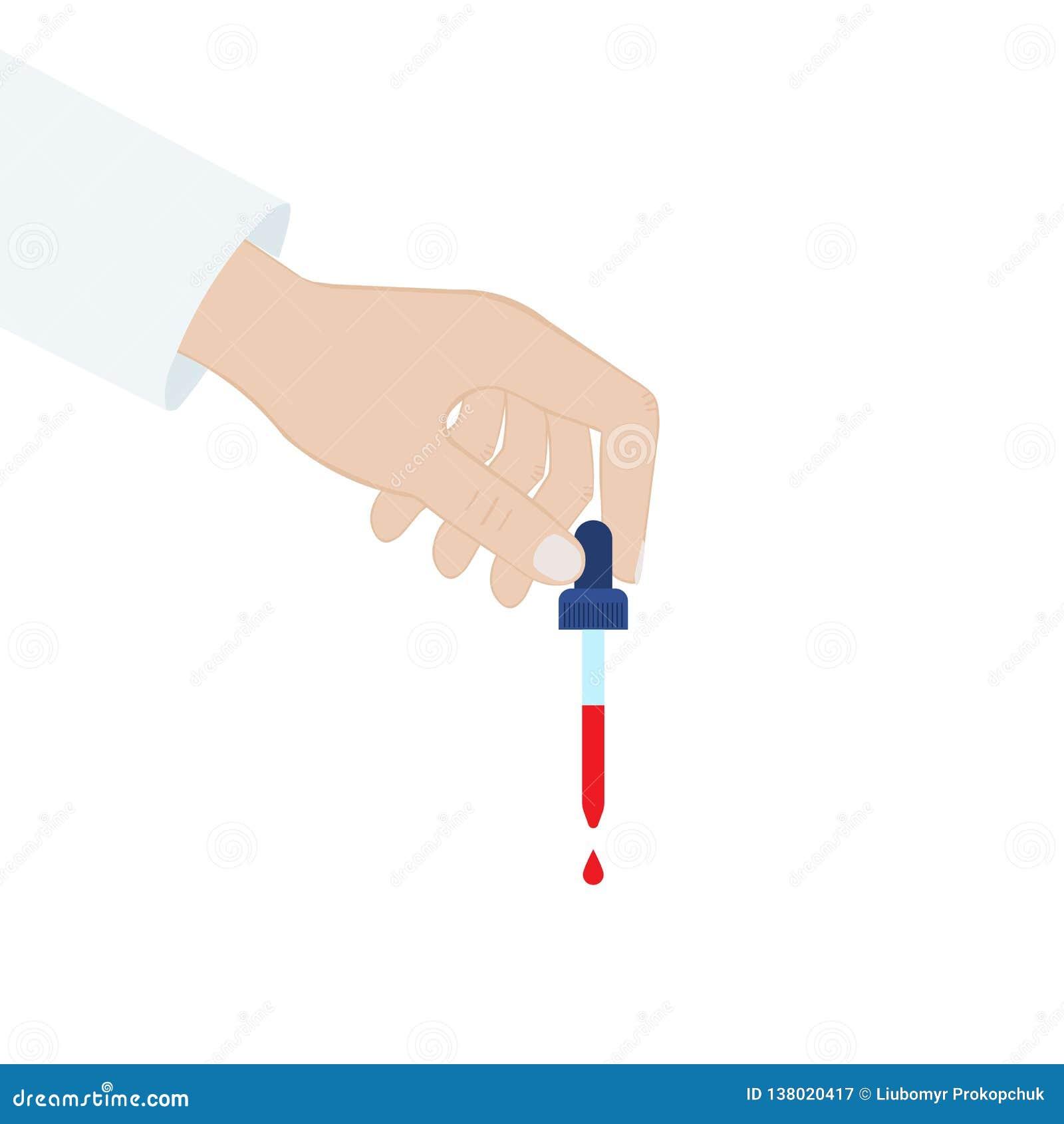 手拿着一支吸管 血液吸移管 按钮查出的现有量例证推进s启动妇女