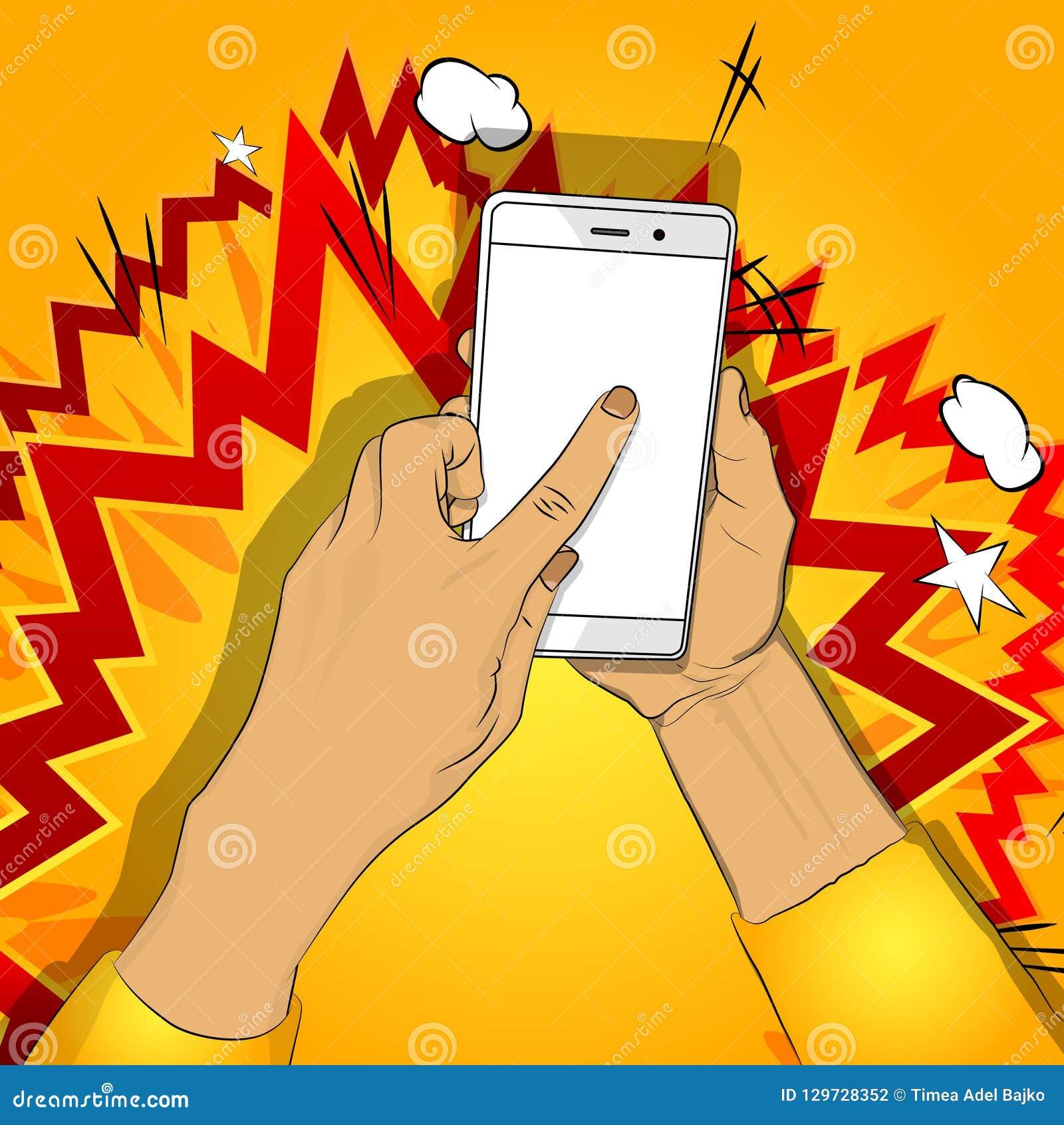 手拿着有白色屏幕的智能手机,并且手指接触显示