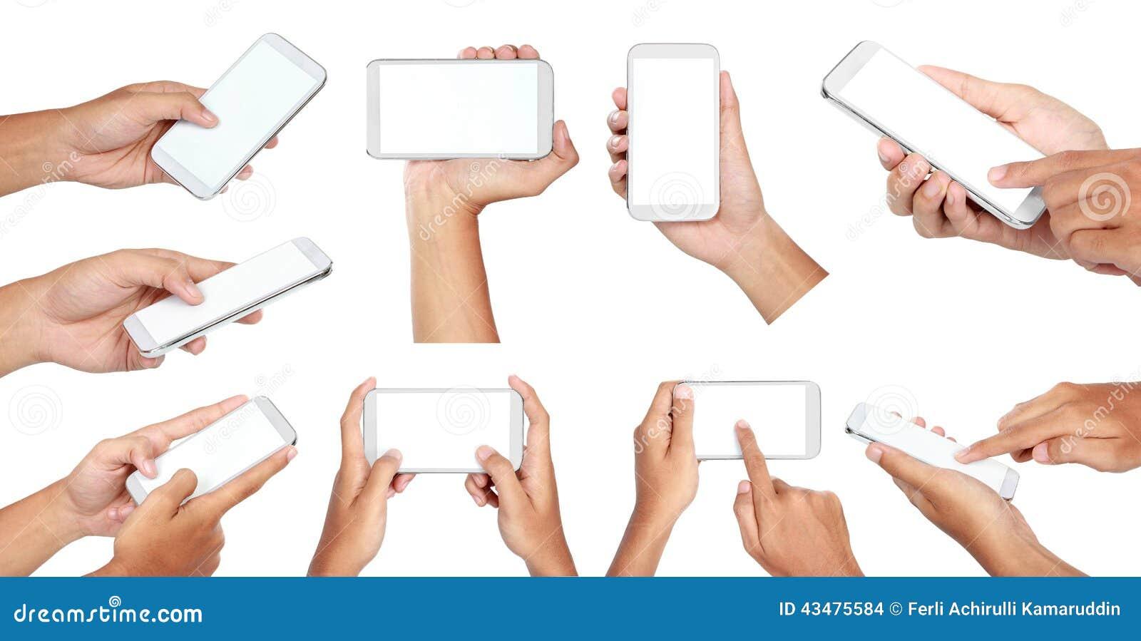 手拿着有黑屏的套流动巧妙的电话