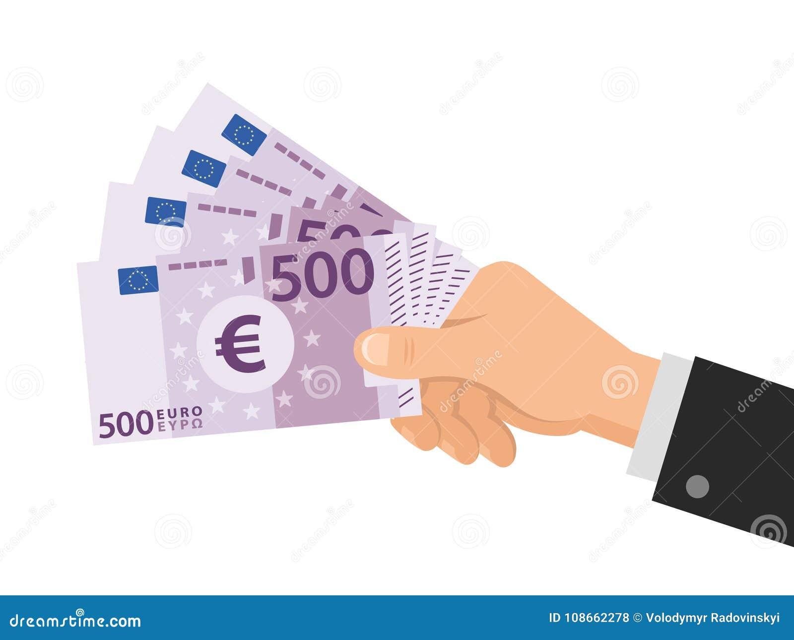 手拿着金钱欧元500张钞票 到达天空的企业概念金黄回归键所有权 背景查出的白色 平的样式 也corel凹道例证向量
