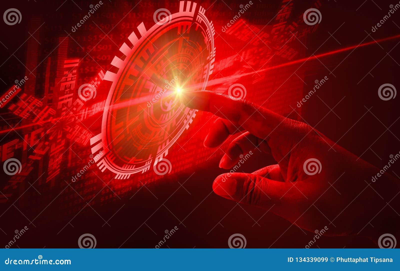 手指接触接口摘要概念,介入非常现代未来派技术和设计,当创新人类,创造