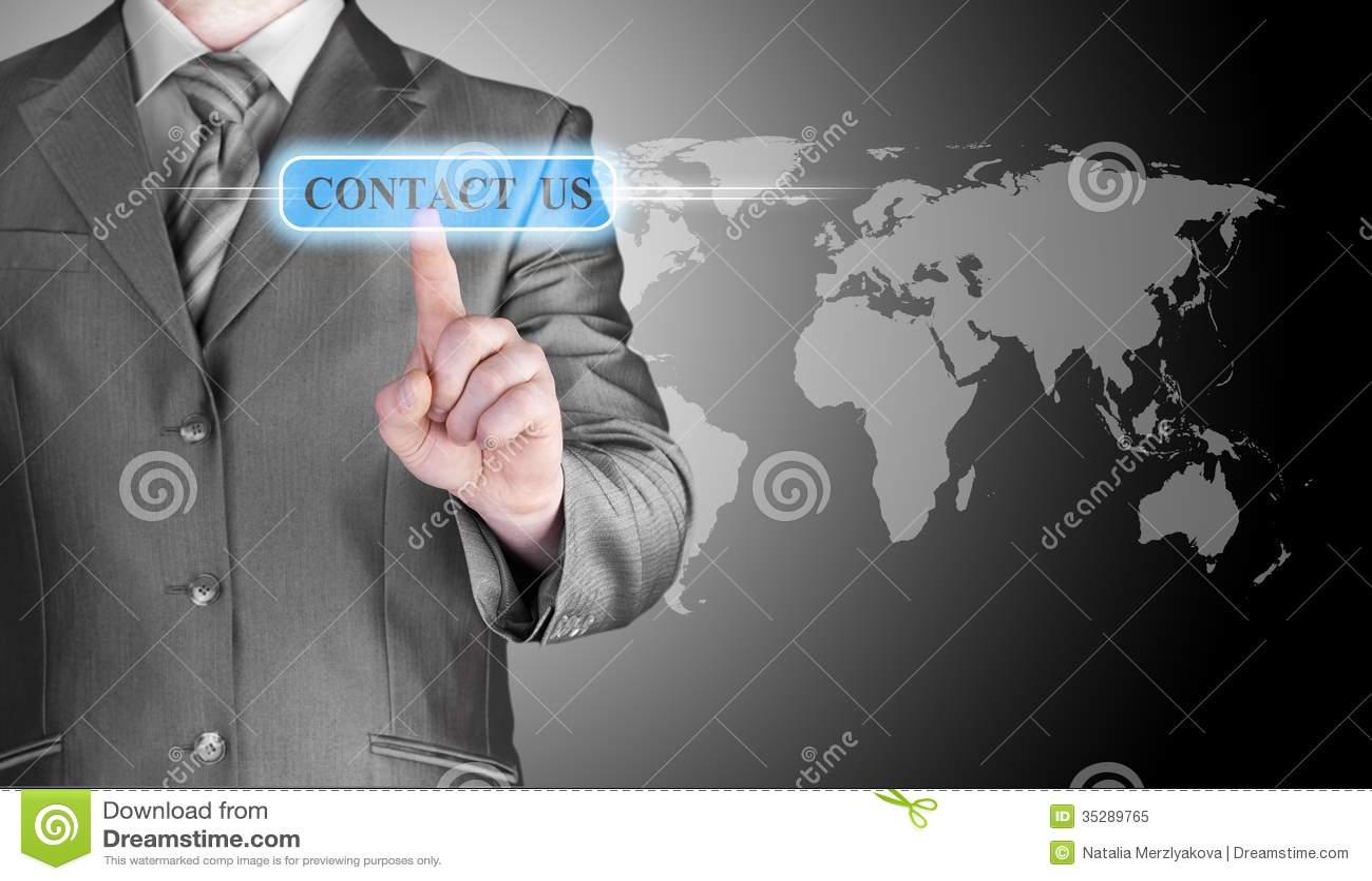 手按的商人与我们联系按钮