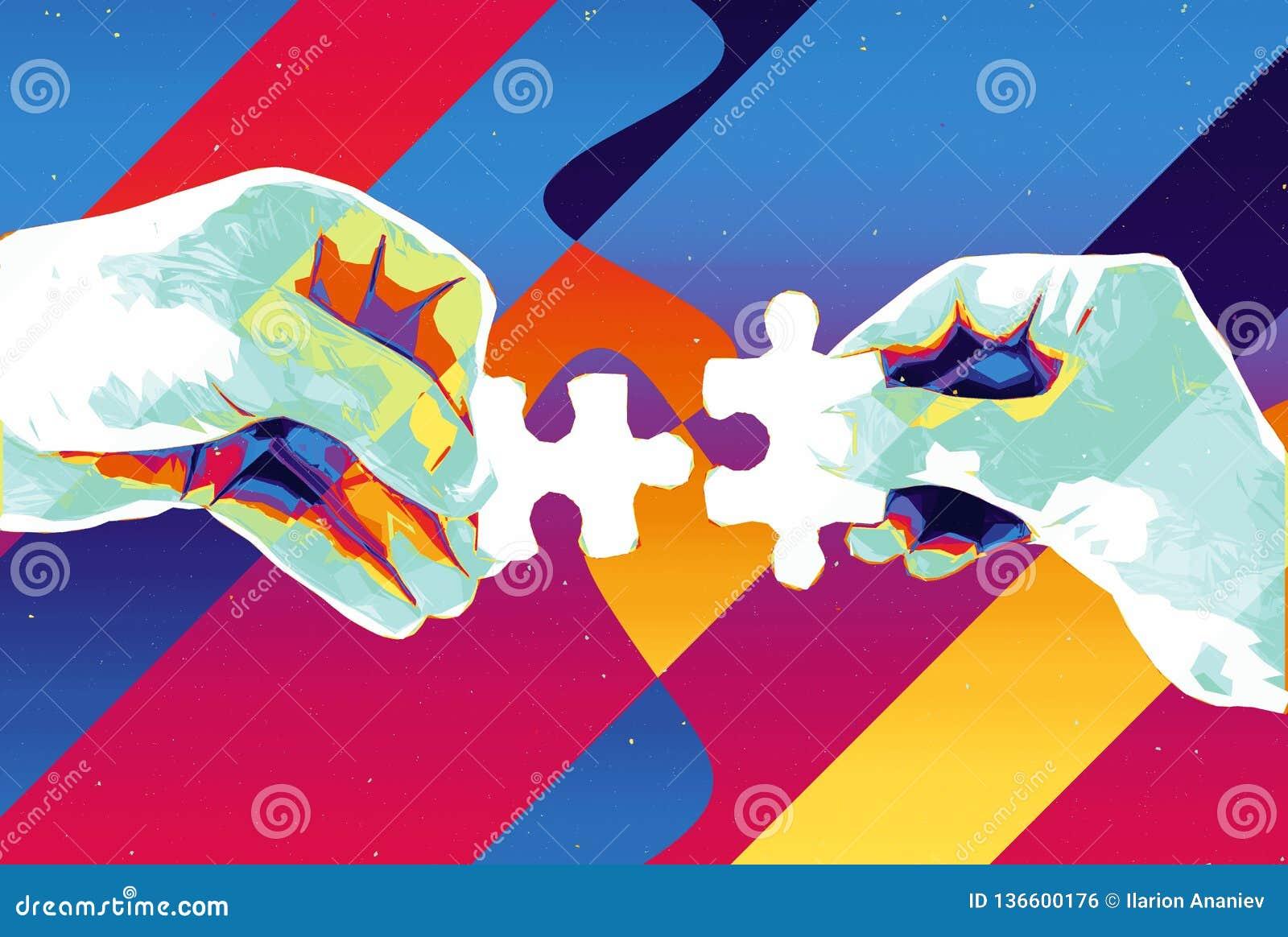 手有两个难题片断抽象背景、现代例证配合的,合作、关系、连接和c
