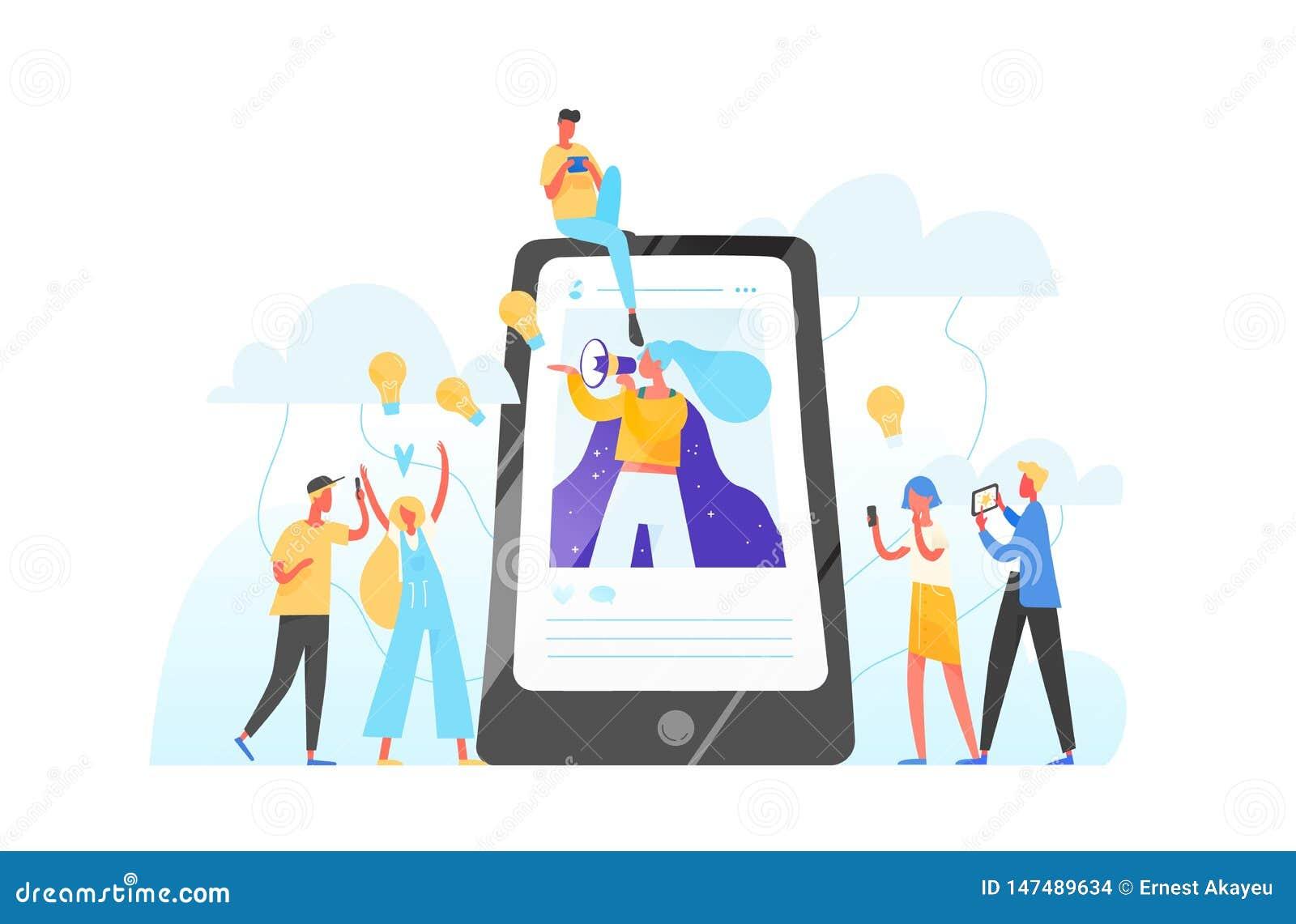 手机、围拢她的妇女有扩音机的在屏幕上和年轻人 Influencer营销,社会媒介或