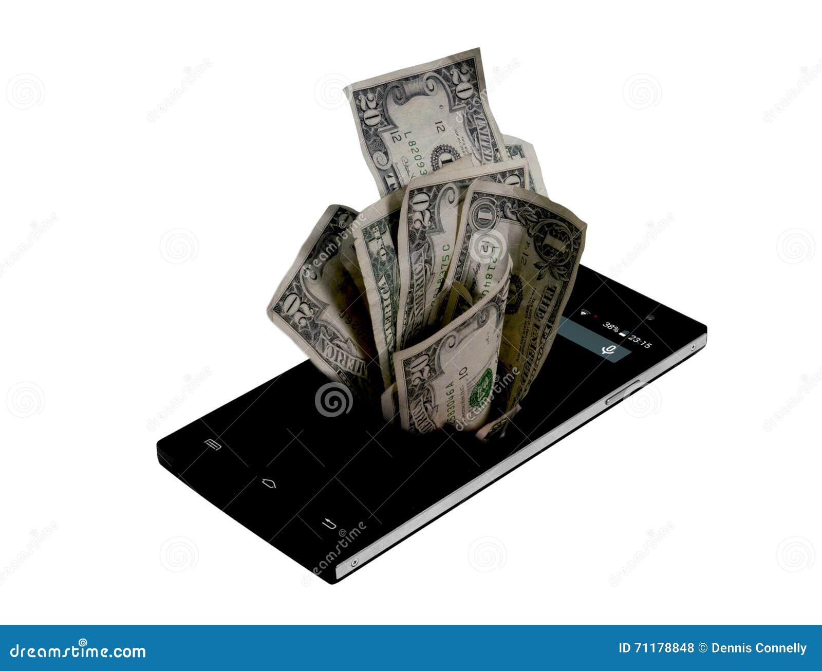 手机和金钱在白色,金钱概念,昂贵的票据