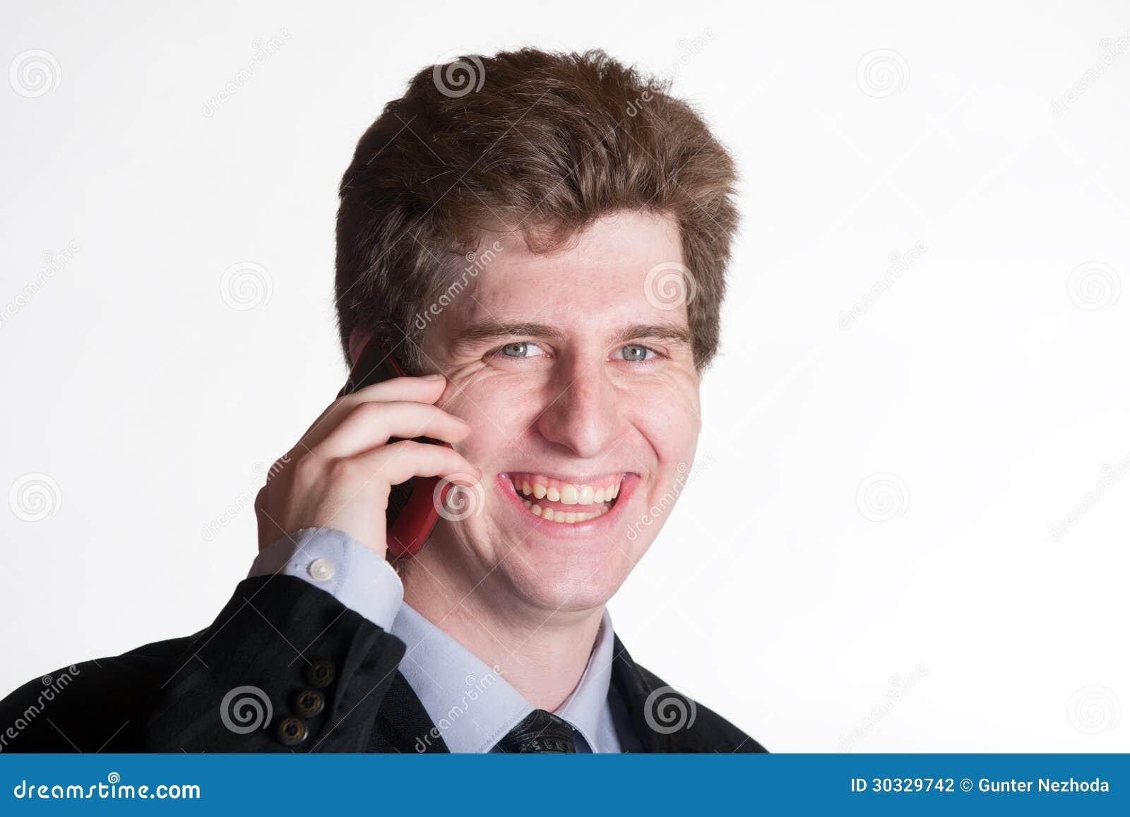 手机的年轻商人