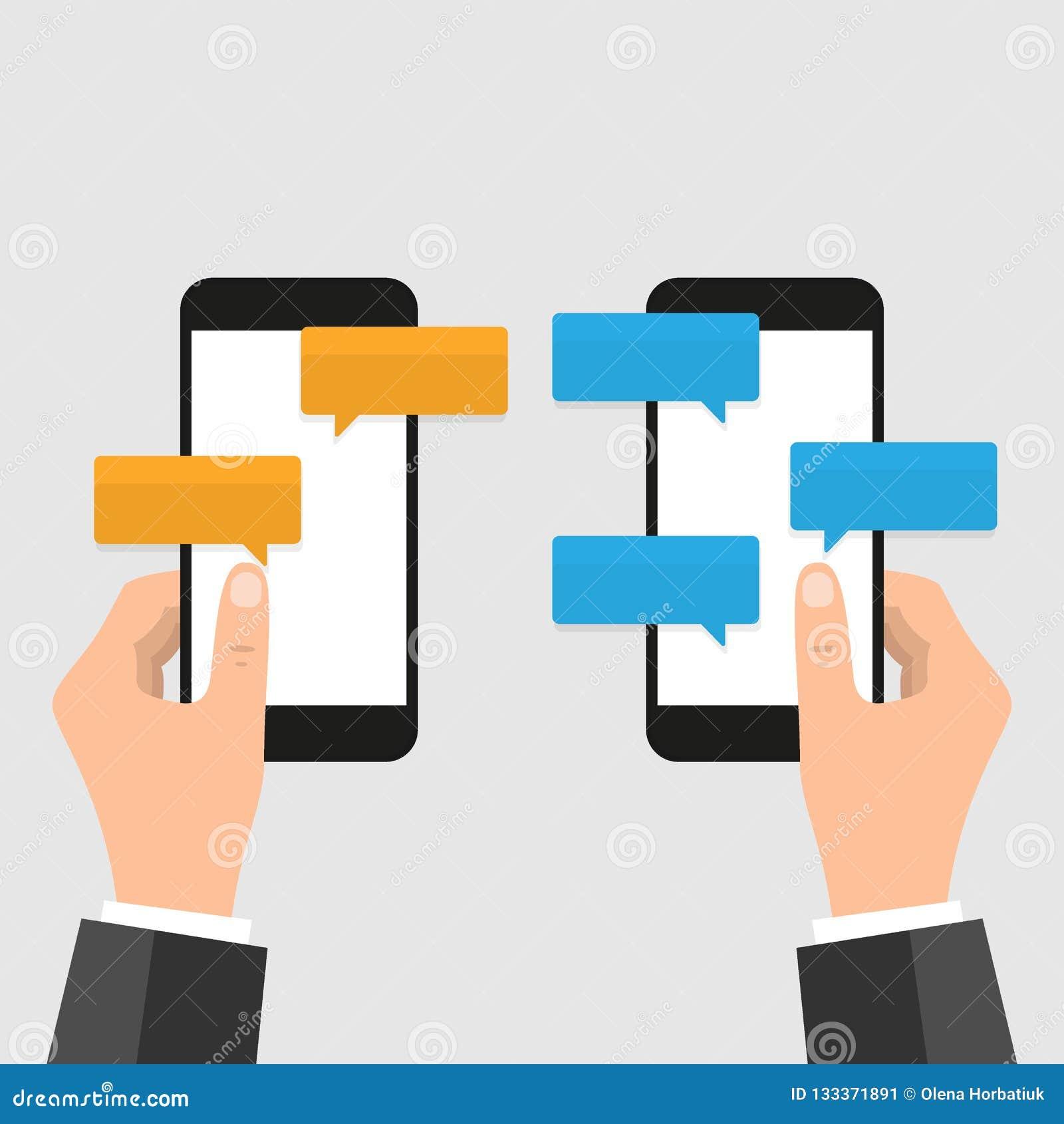 手机闲谈消息通知在颜色背景、手有智能手机的和聊天的泡影隔绝的传染媒介例证